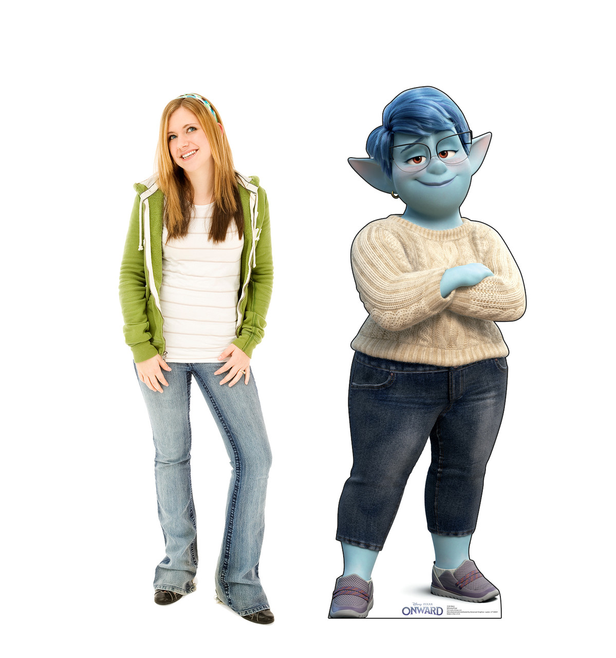 Life-size cardboard standee of Mom from Disney/Pixar's film Onward with model.