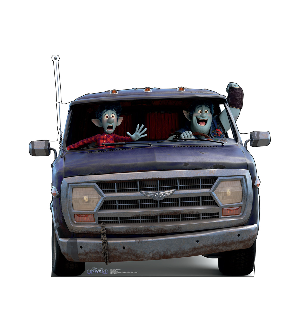 Life-size cardboard standee of Ian and Barley in Van from Disney/Pixar's film Onward.
