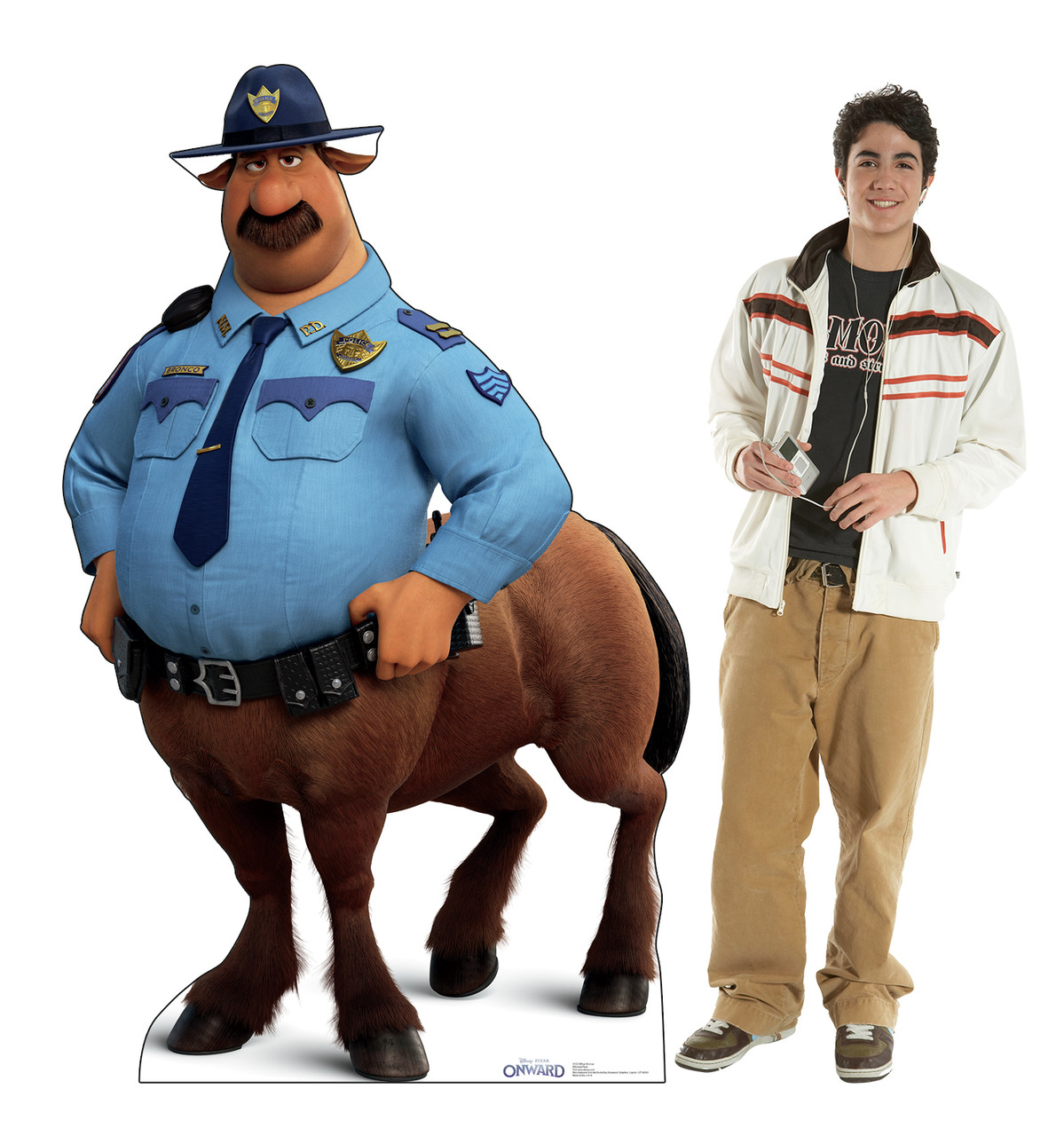 Life-size cardboard standee of Officer Bronco from Disney/Pixar's film Onward with model.