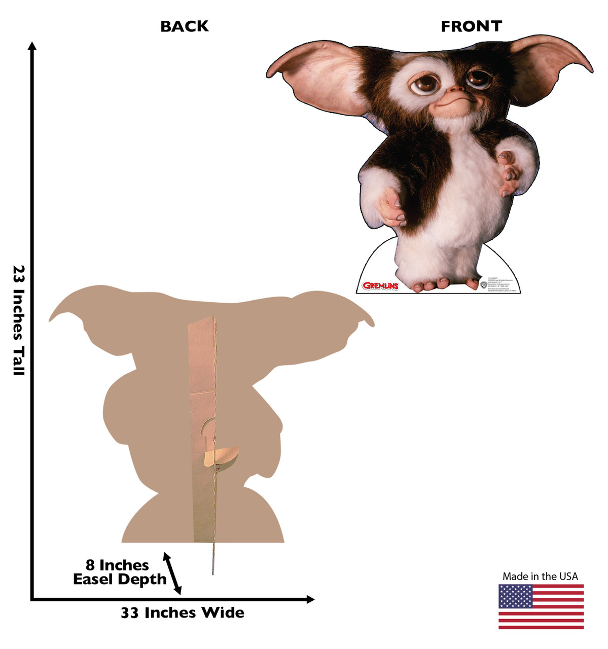 Life-size cardboard standee of GizmoTM from the movie Gremlins with front and back dimensions.