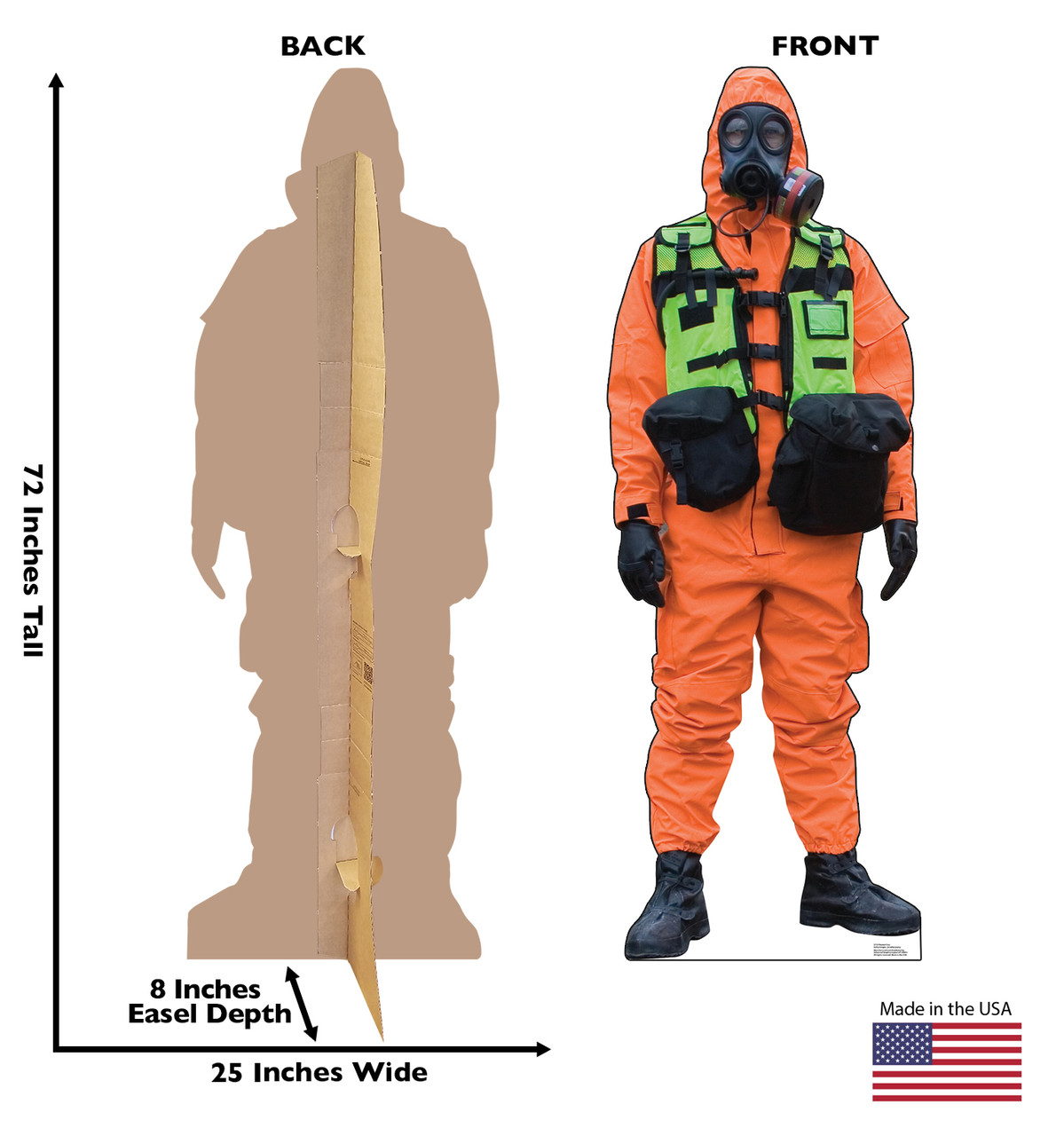Life-size cardboard standee of a Hazmat Guy with front and back dimensions.