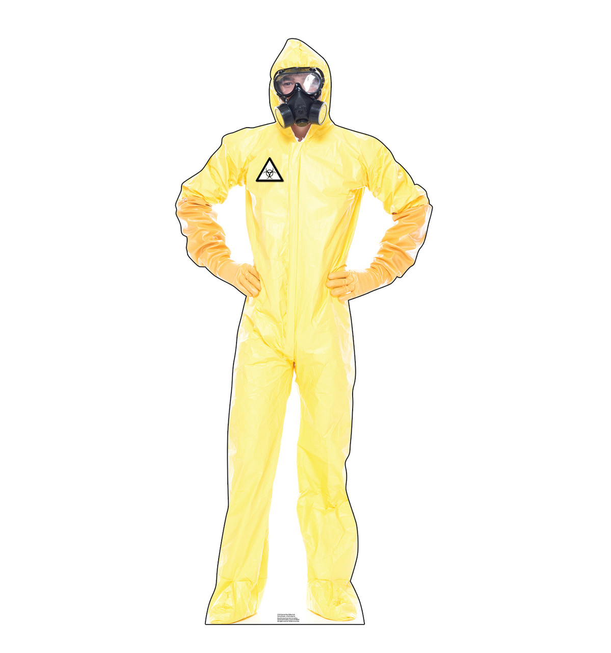 Life-size cardboard standee of a Hazmat Guy in Yellow Suit.