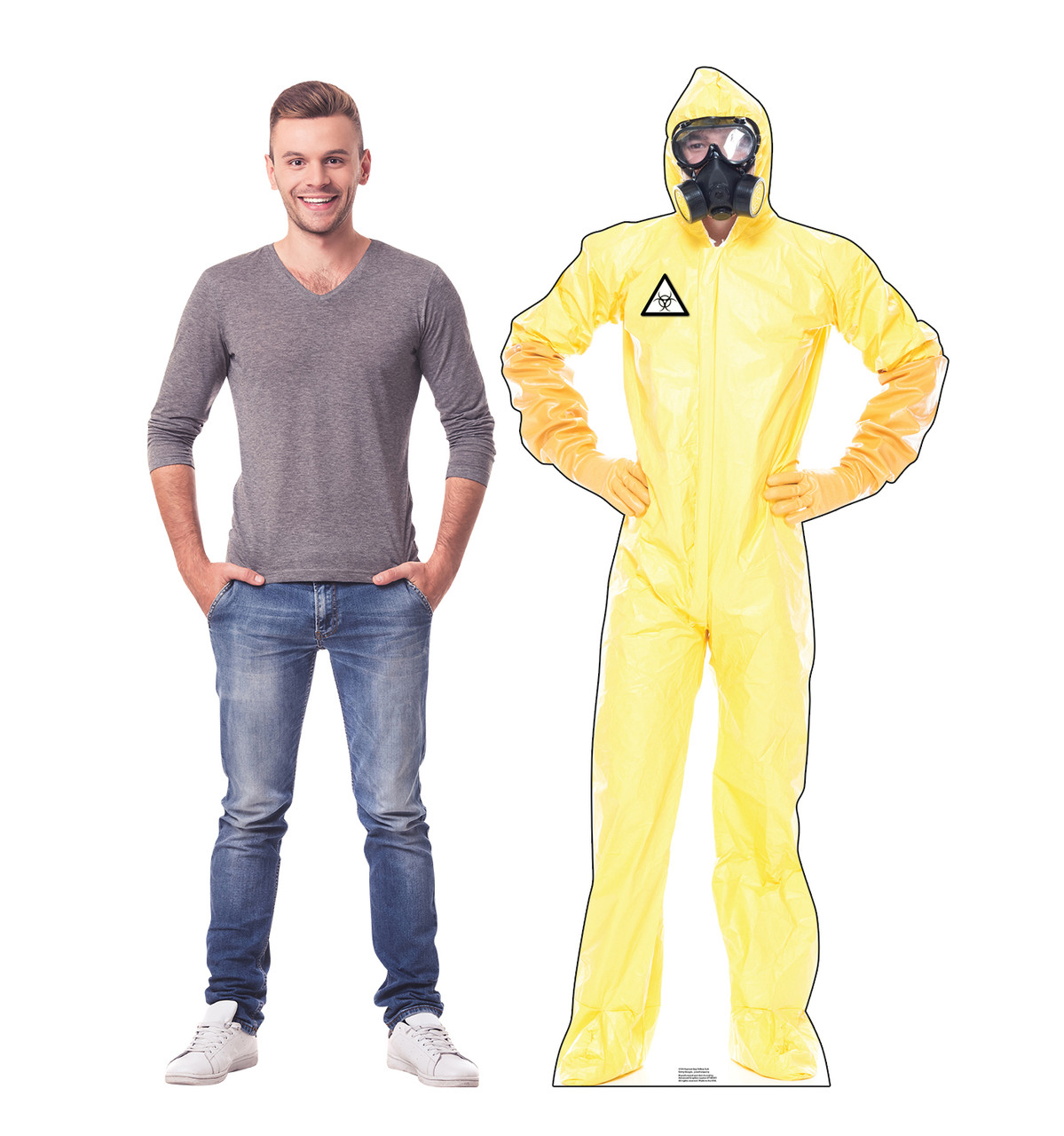 Life-size cardboard standee of a Hazmat Guy in Yellow Suit with model.