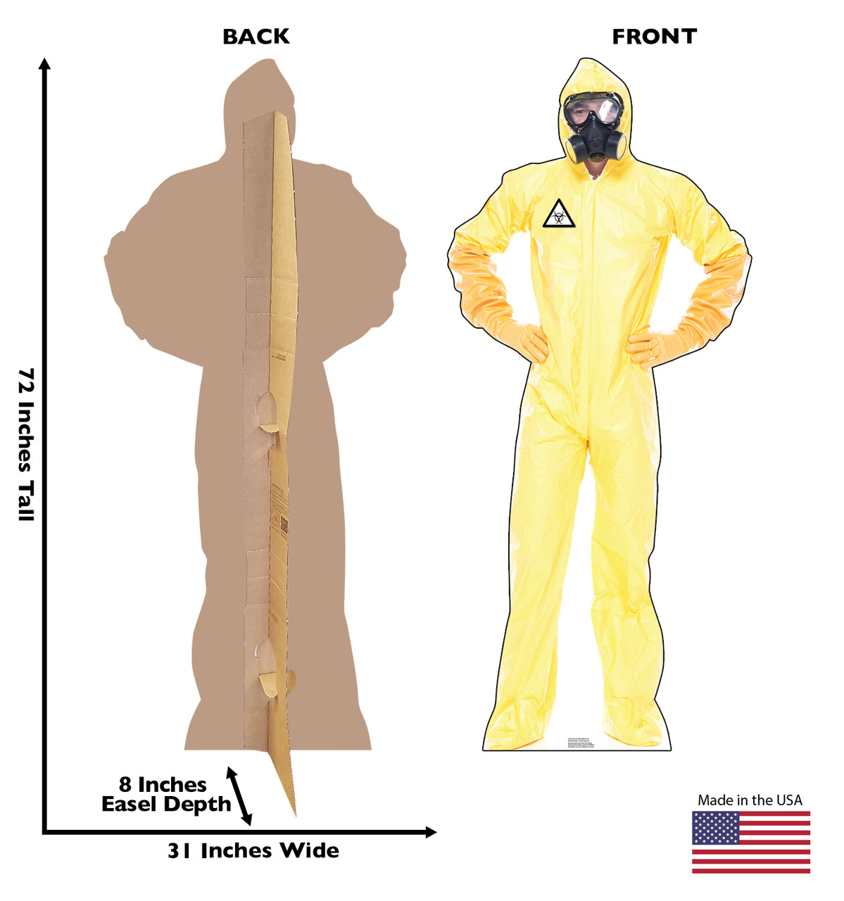 Life-size cardboard standee of a Hazmat Guy in Yellow Suit with front and back dimensions.