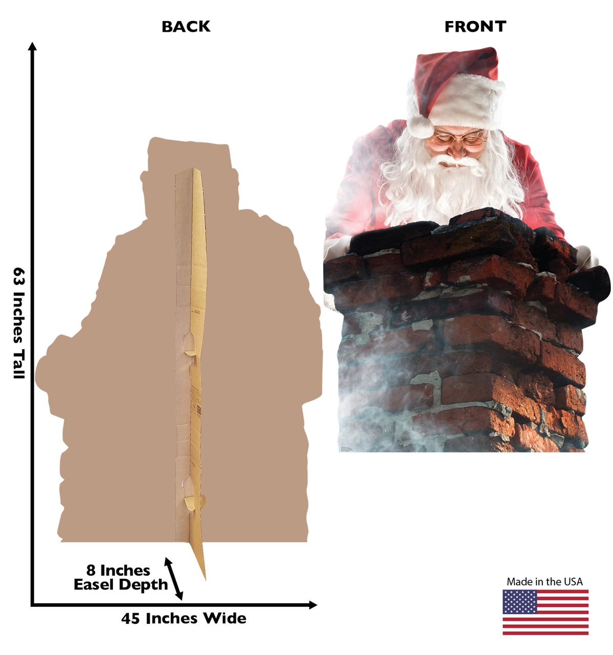 Life-size cardboard standee of Santa in a Chimney with front and back dimensions.
