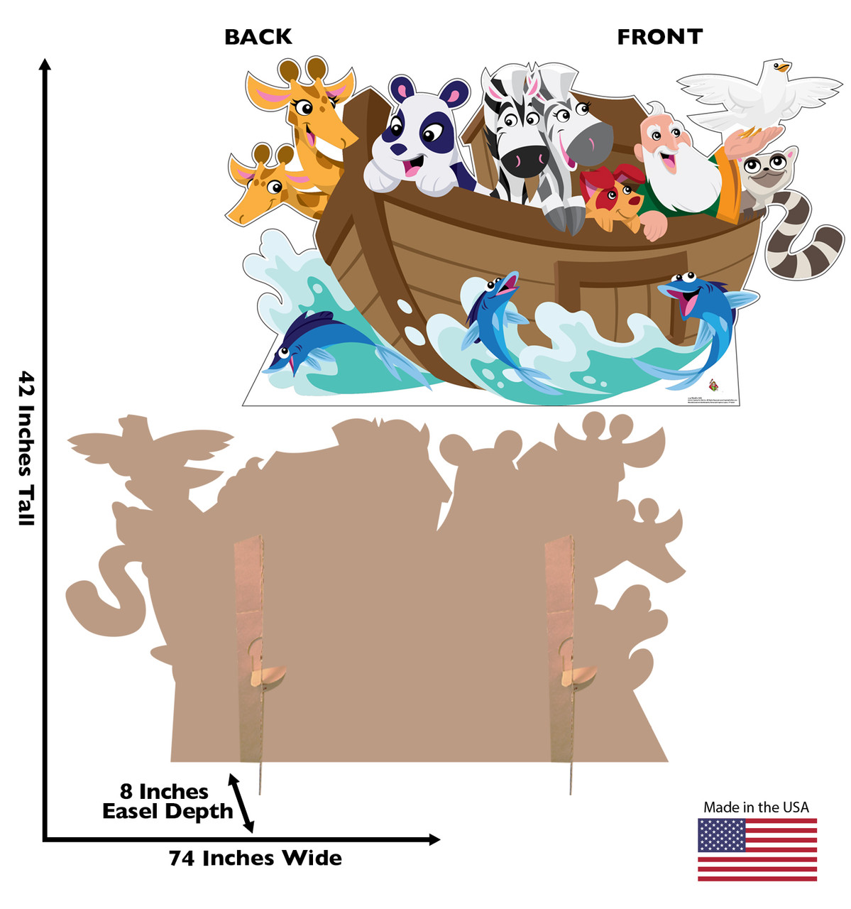 Life-size cardboard standee Noahs Ark with front and back dimensions.