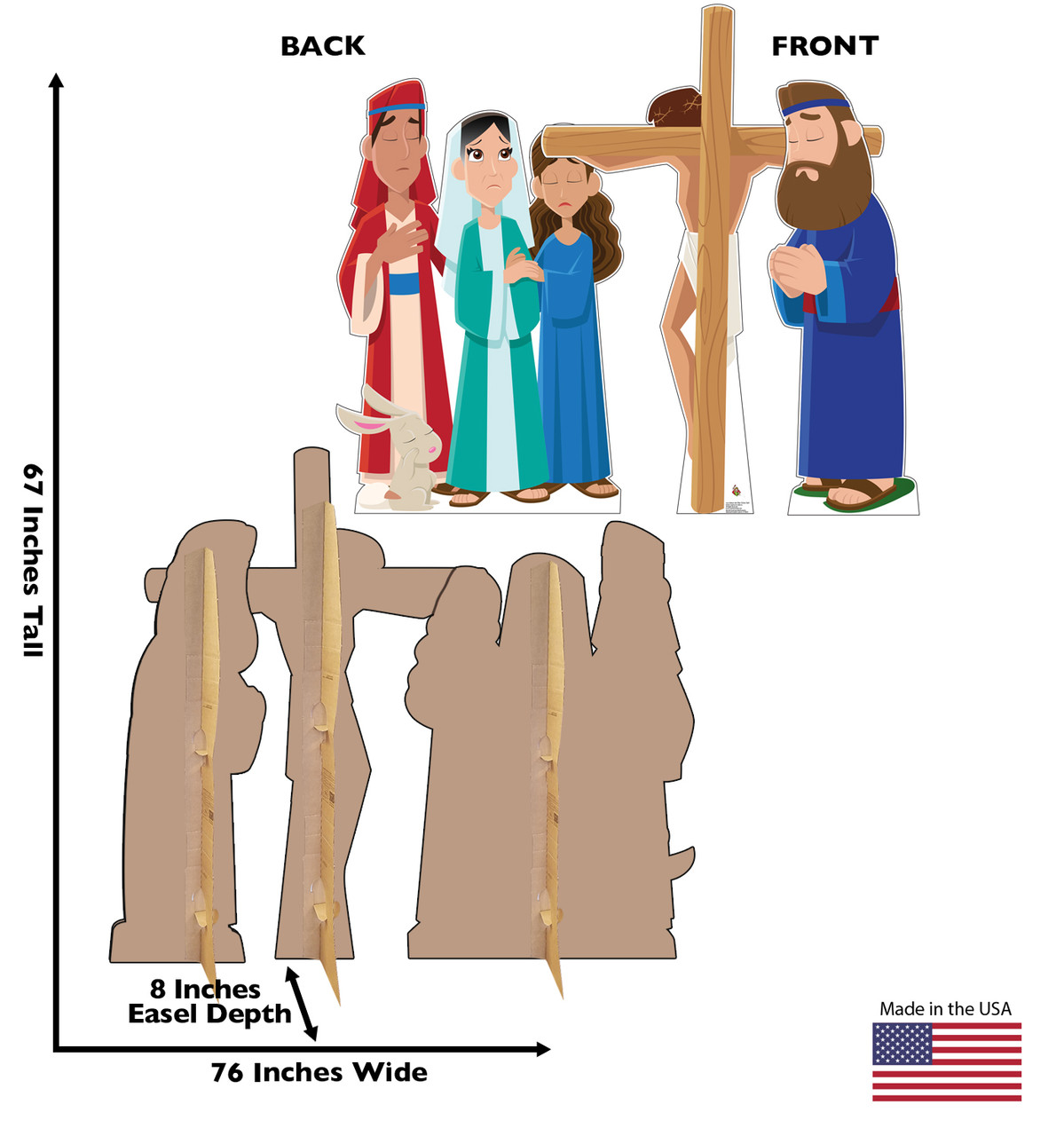 Life-size cardboard standee set of Jesus on the Cross with front and back dimensions.