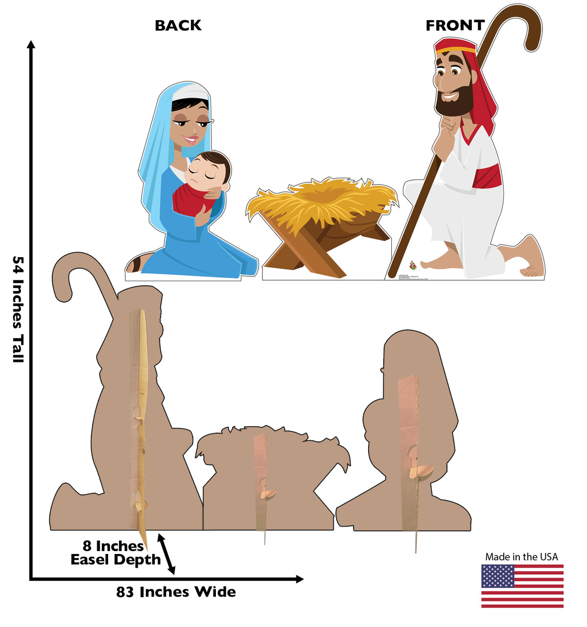 Life-size cardboard standee set of the Nativity with front and back dimensions.
