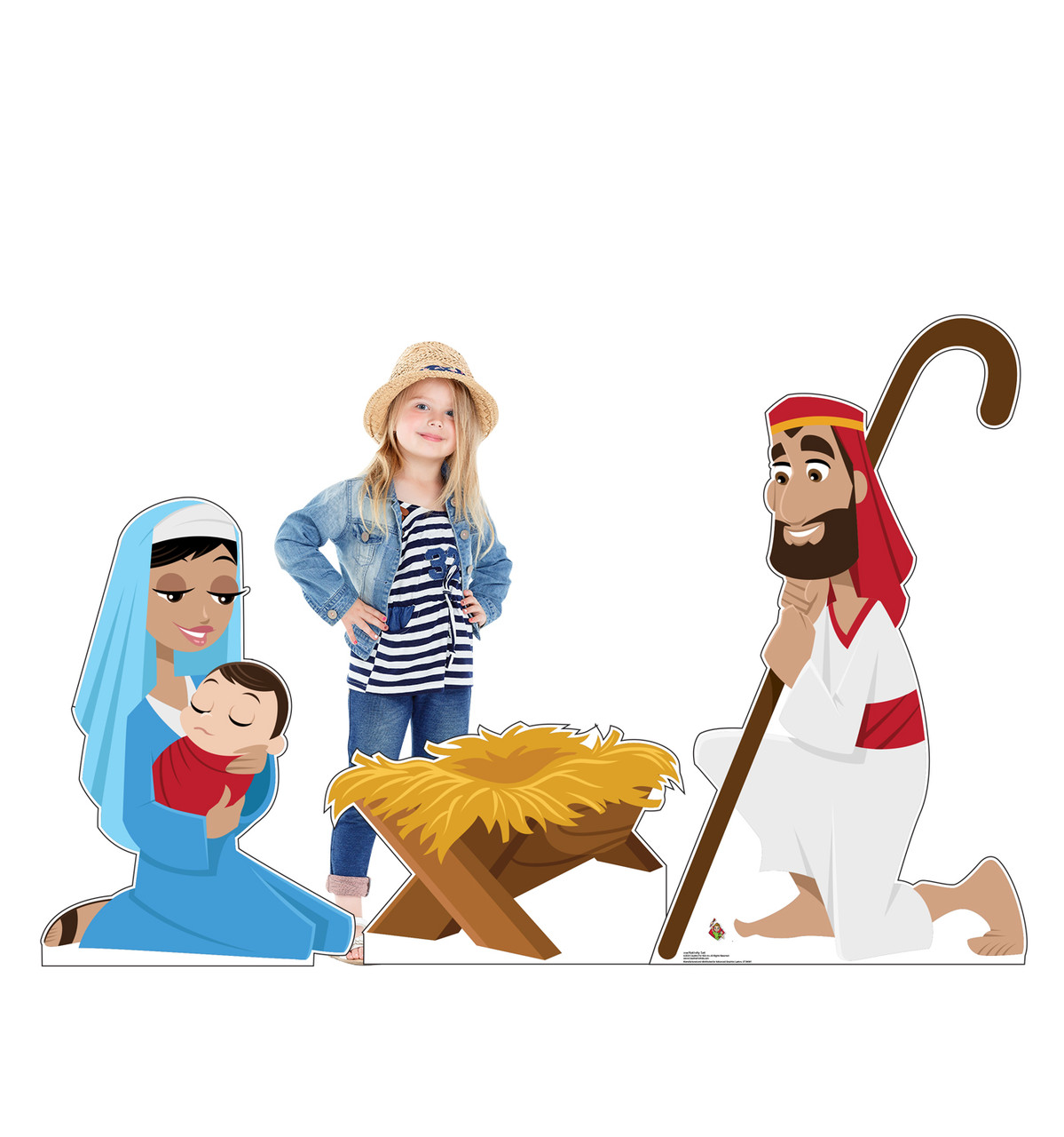 Life-size cardboard standee set of the Nativity with model.