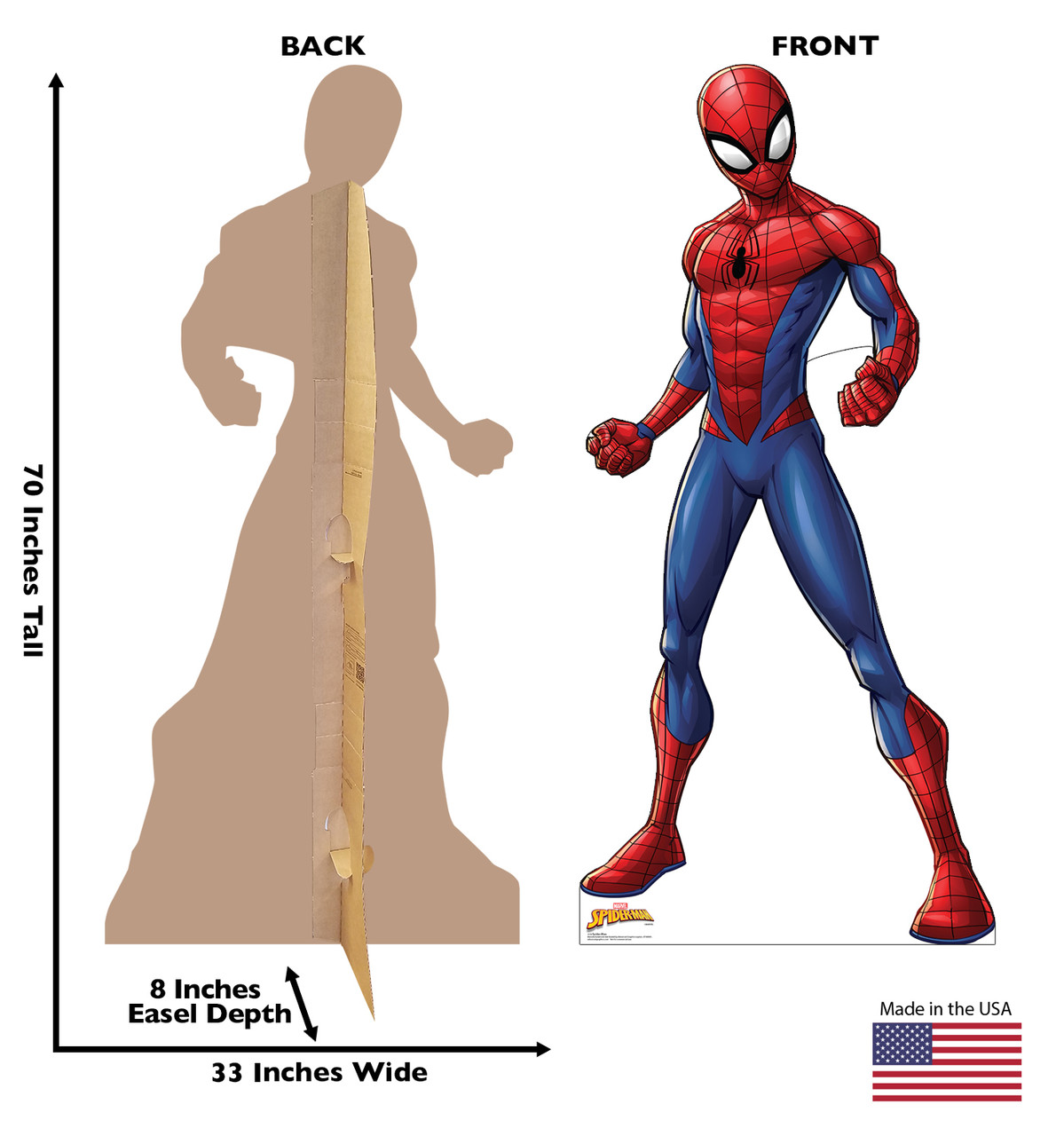 Life-size cardboard standee of Spider-Man from Marvel with front and back dimensions.