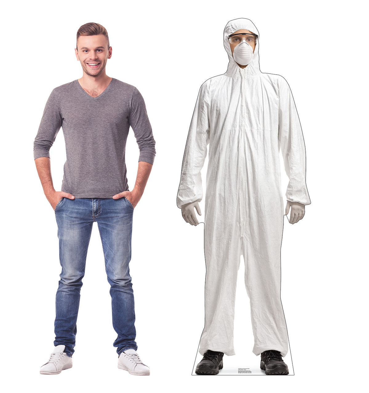 Life-size cardboard standee of a Doctor in Protective Gear with model.