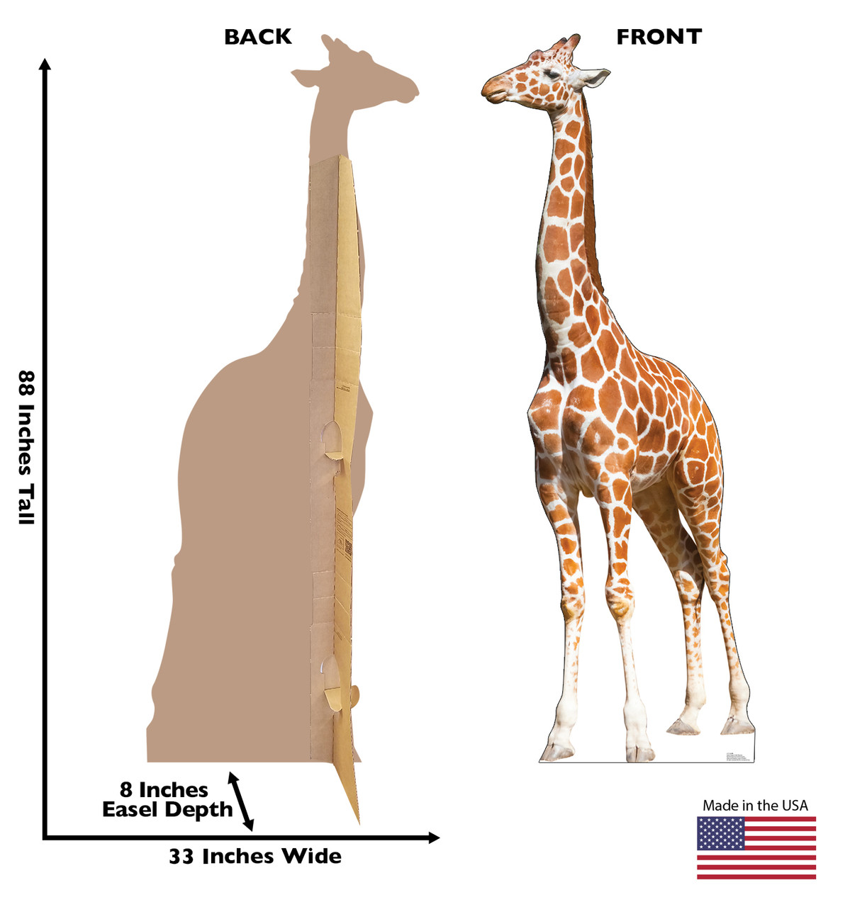 Life-size Giraffe Cardboard Standup   Cardboard Cutout with back and front dimensions.