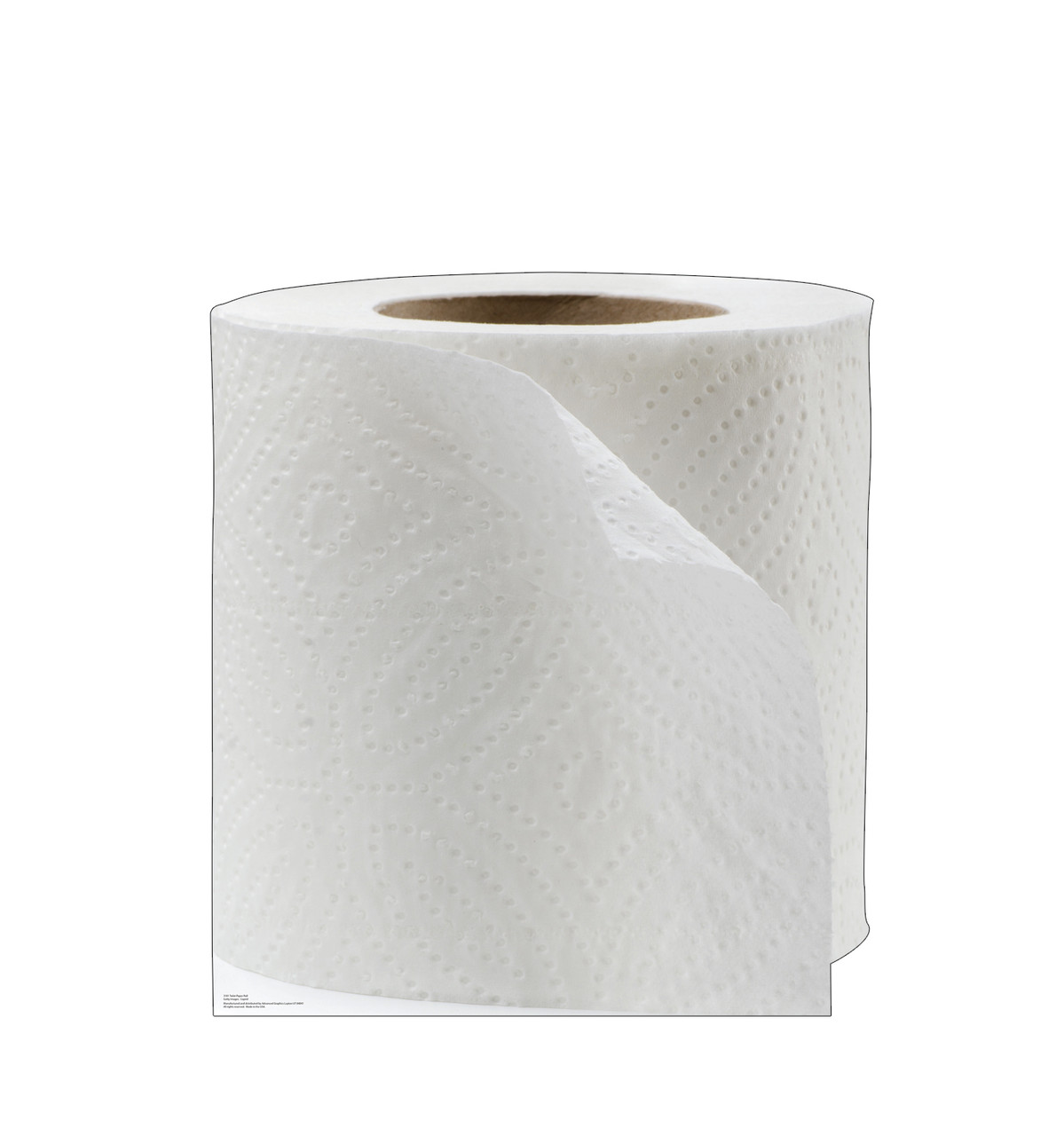 Life-size cardboard standee of Toilet Paper Roll.