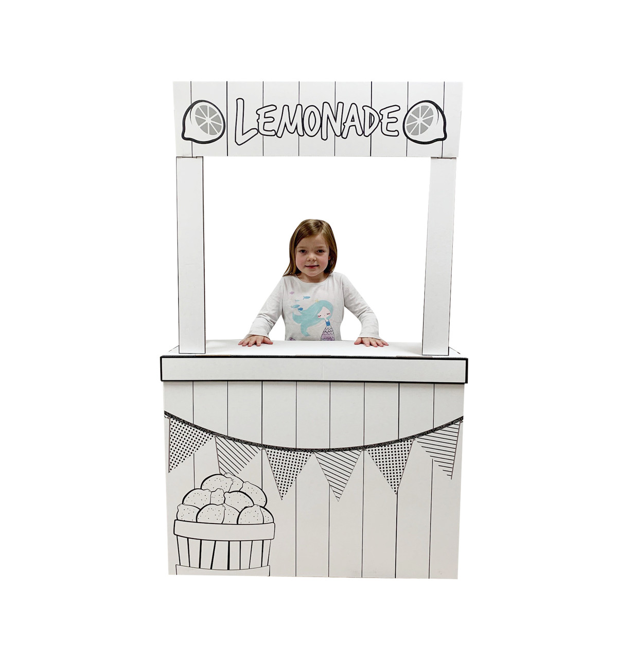 Life-size Color Me Lemonade Stand with model.