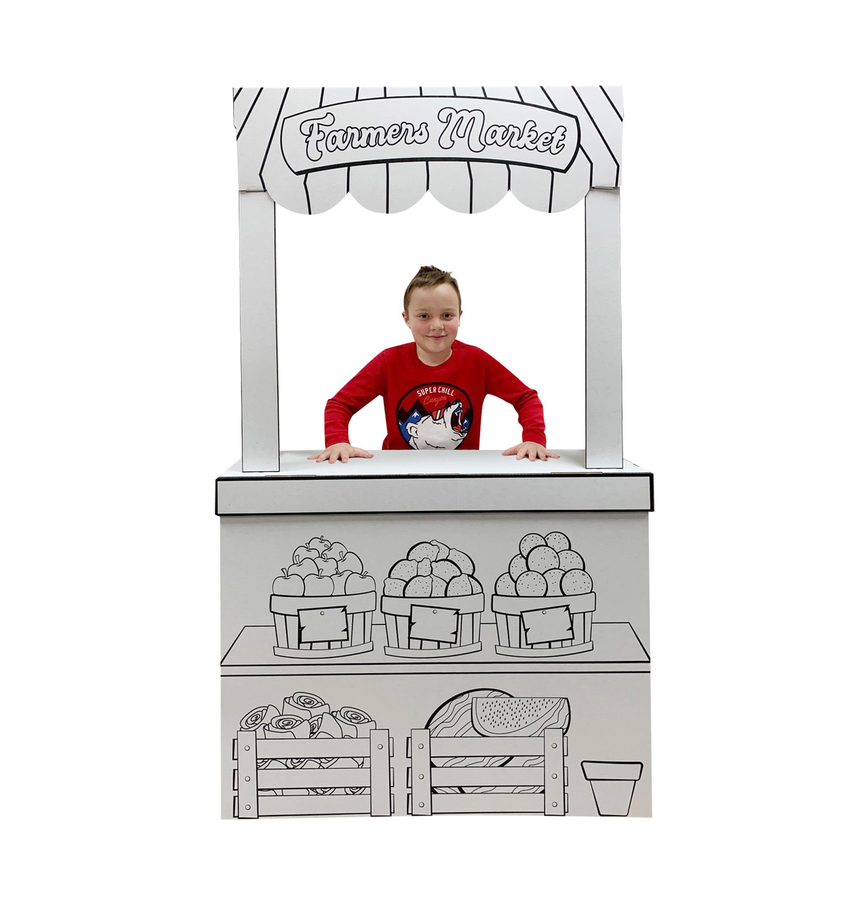 Life-size Color Me Farmers Market Stand with model.