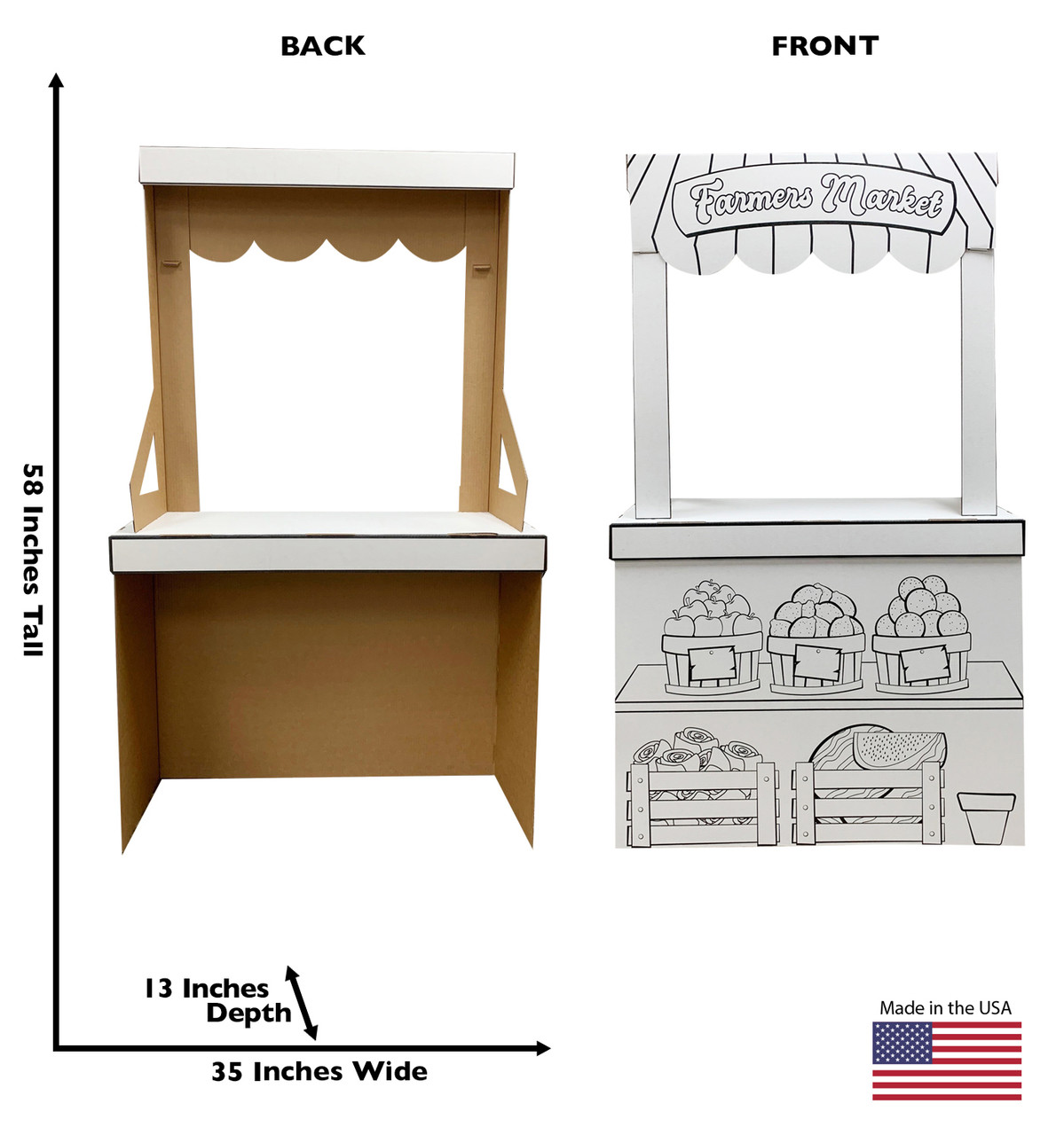 Life-size Color Me Farmers Market Stand with front and back dimensions.