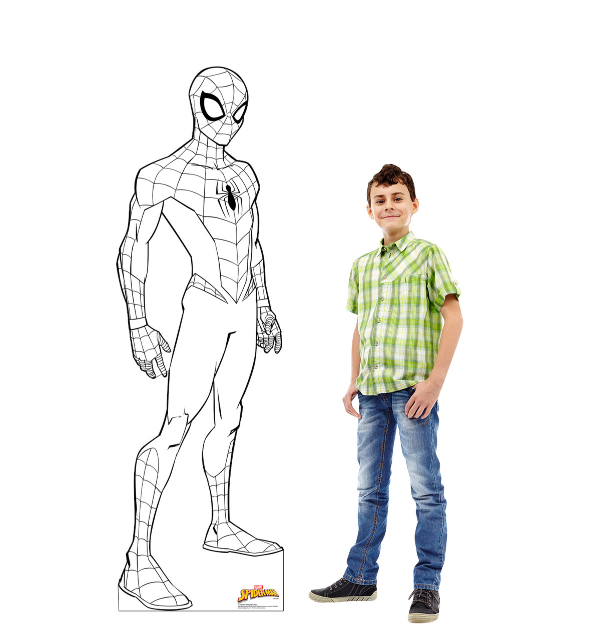 Life-size cardboard standee of Color Me Spider-Man from Marvel with model.