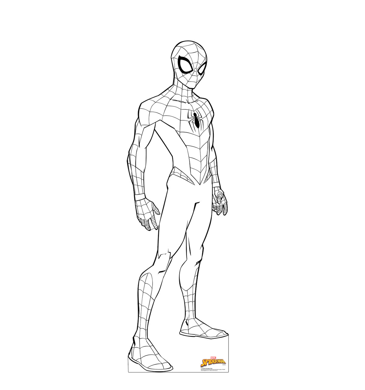 Life-size cardboard standee of Color Me Spider-Man from Marvel.