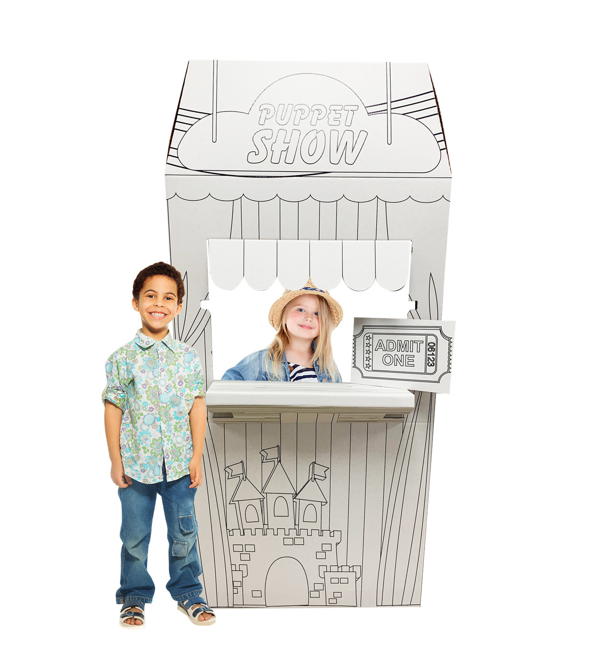 Life-size Color Me Puppet Show Stand with models.
