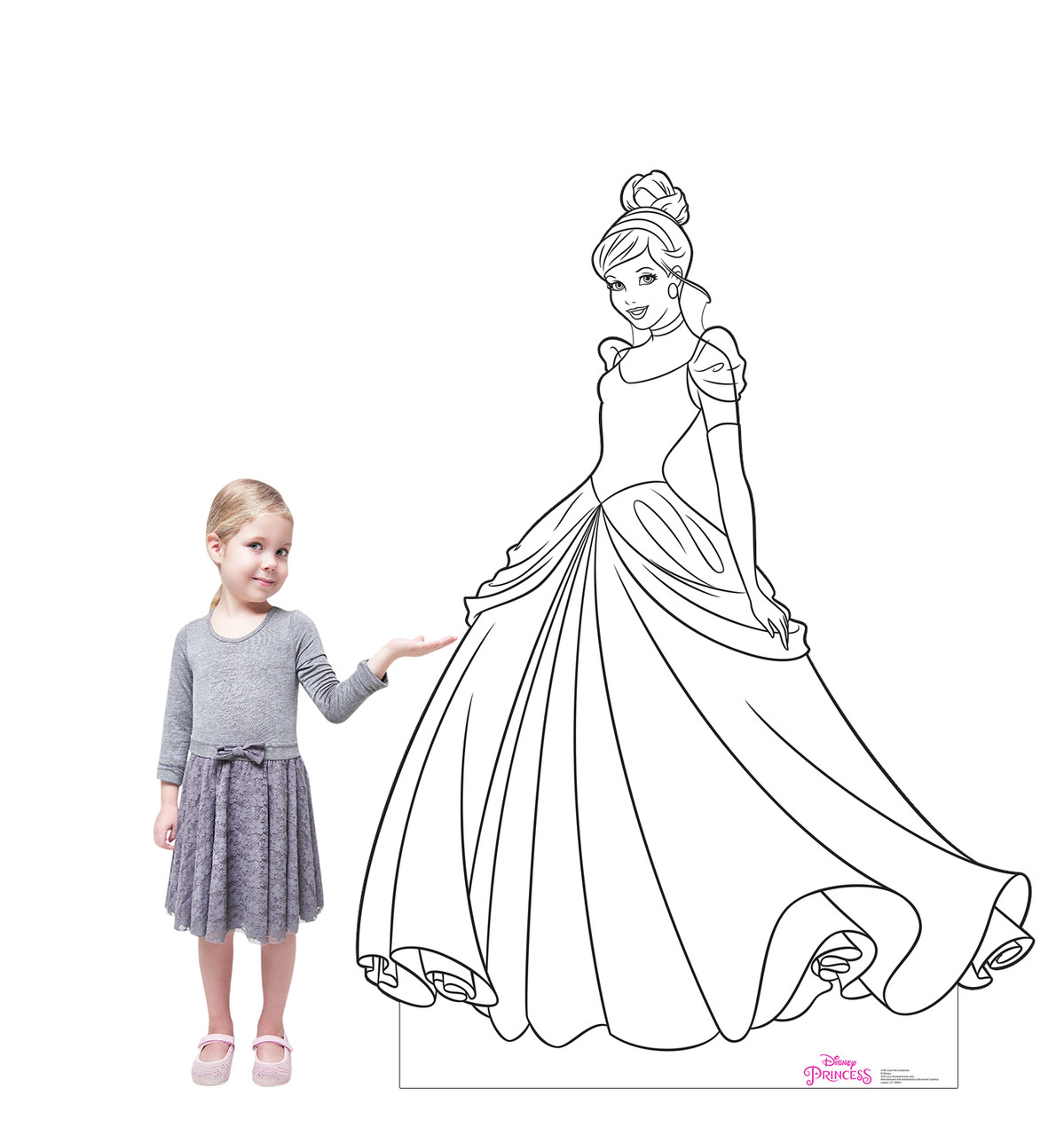 Life-size cardboard standee of Color Me Cinderella from Disney Princesses with model.