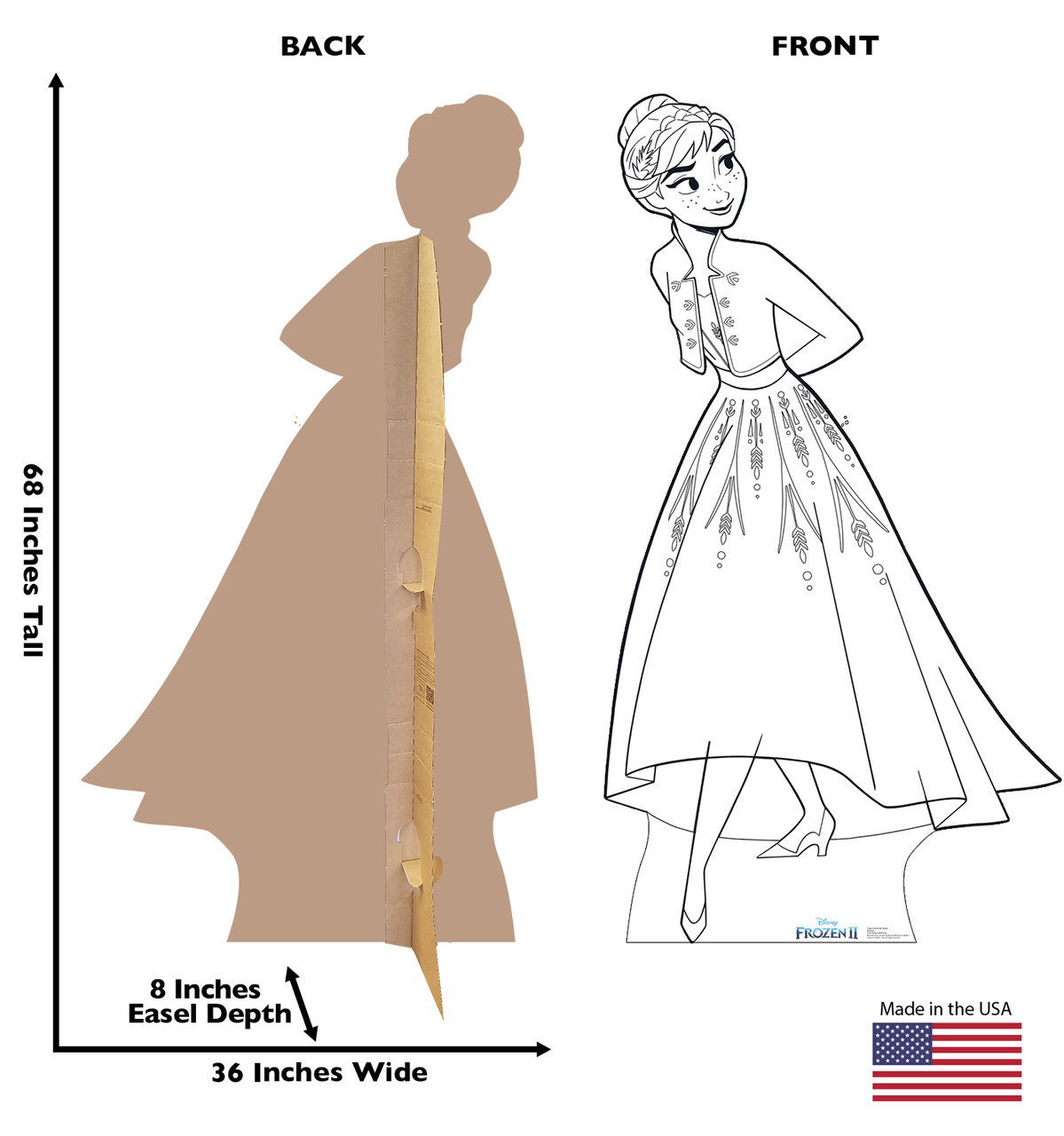 Life-size Color Me Anna Standee with front and back dimensions.