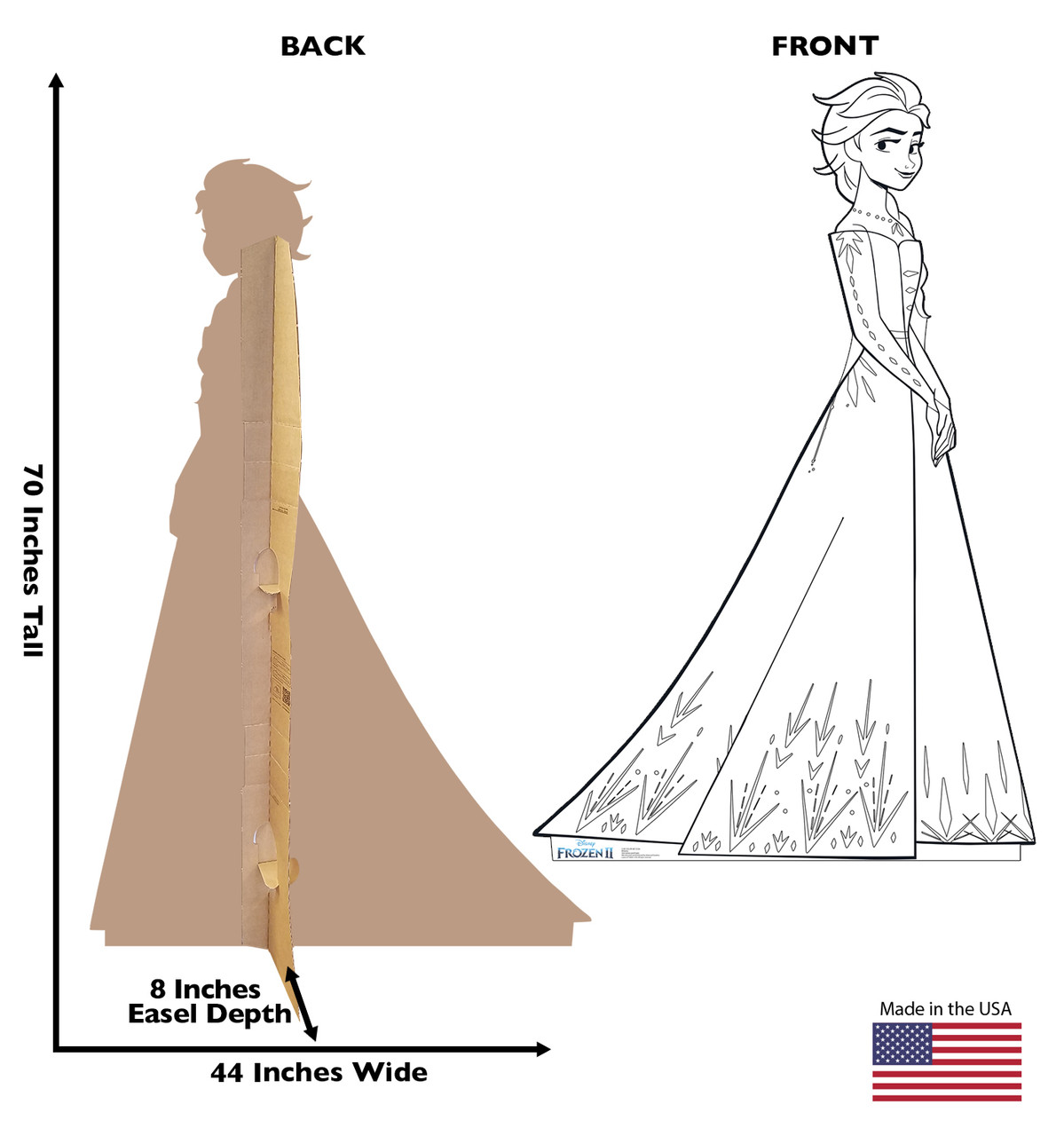 Life-size Color Me Elsa Standee with front and back dimensions.