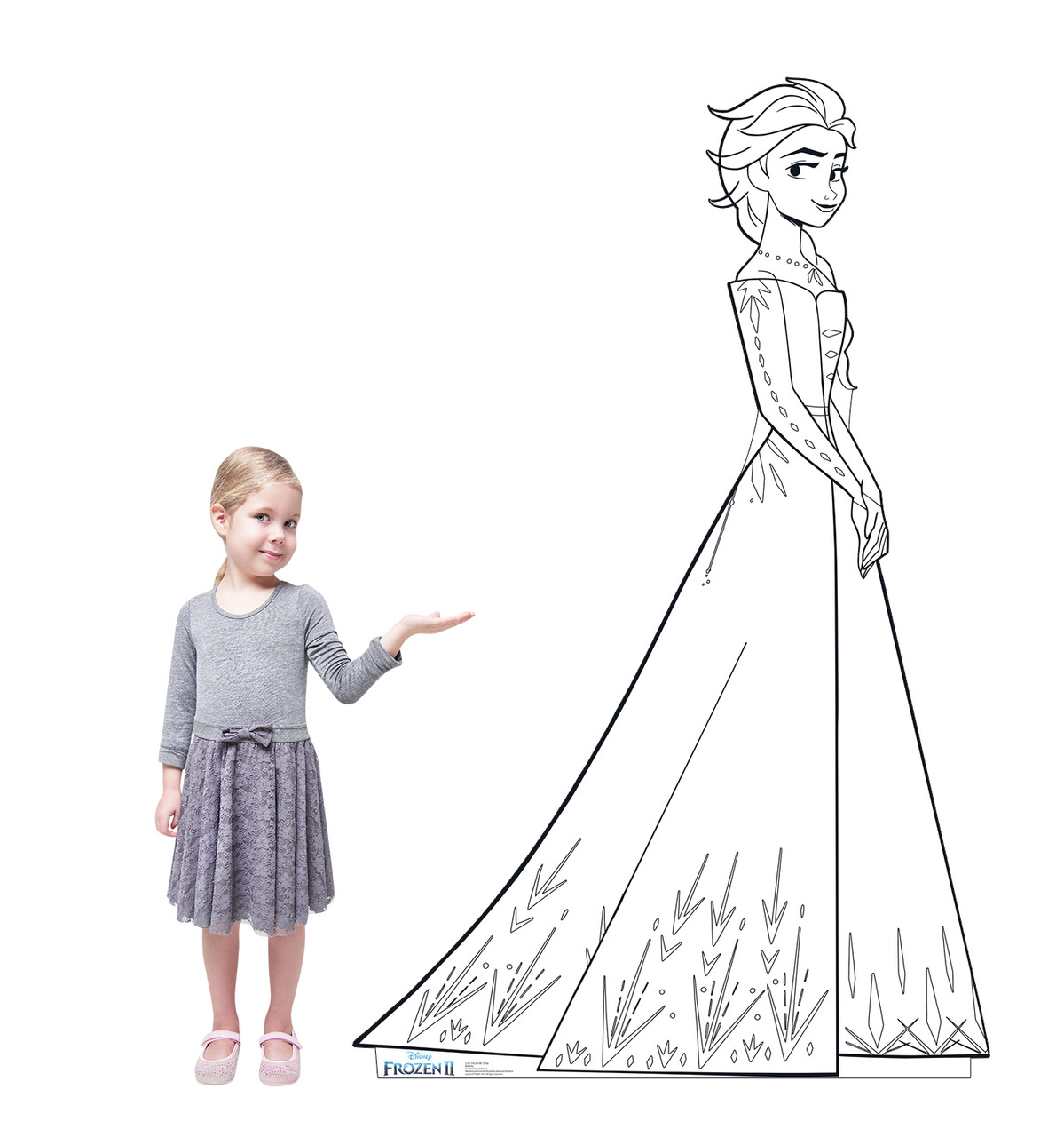 Life-size Color Me Elsa Standee with model.