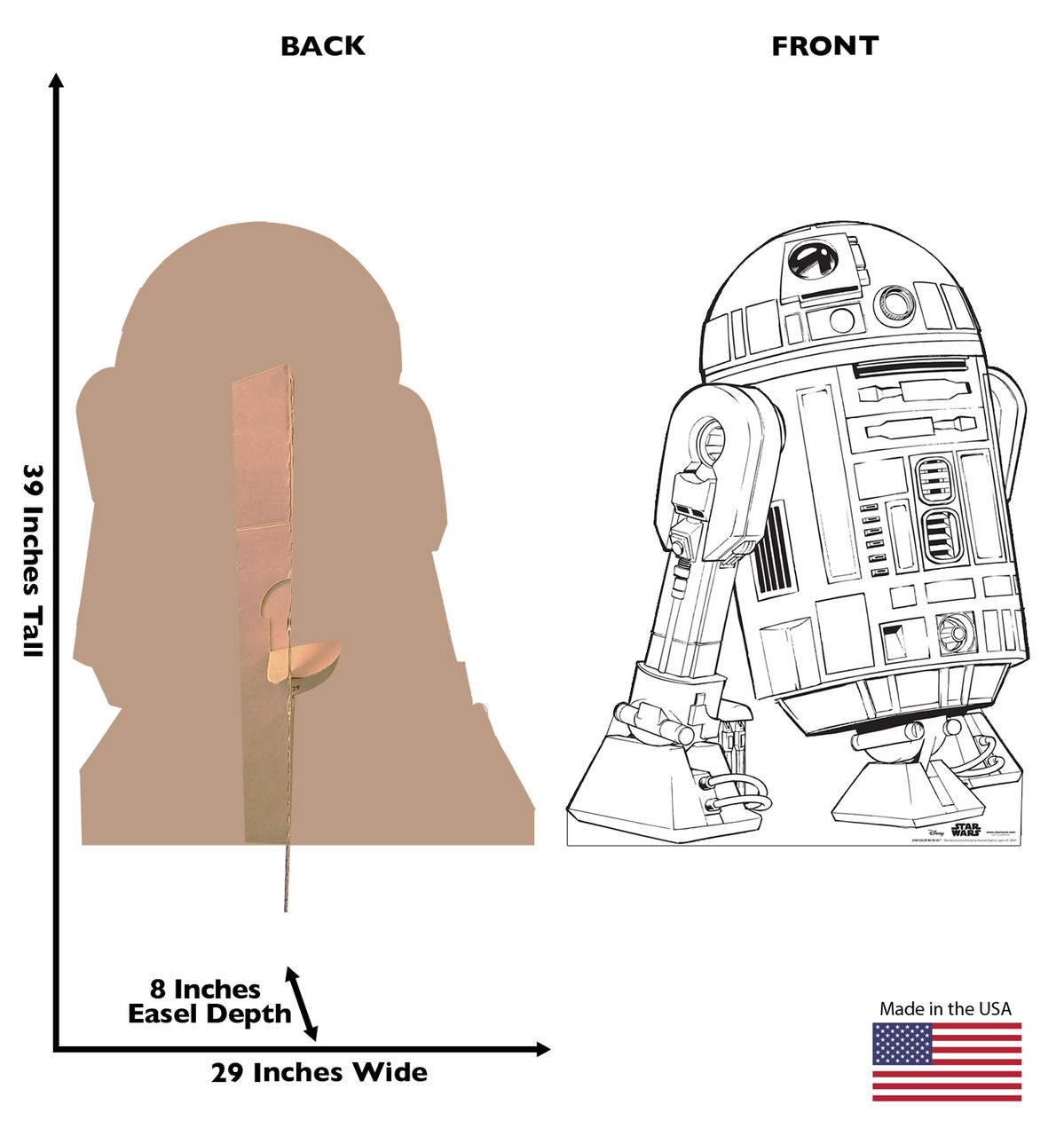 Life-size Color Me R2-D2 Standee with front and back dimensions.
