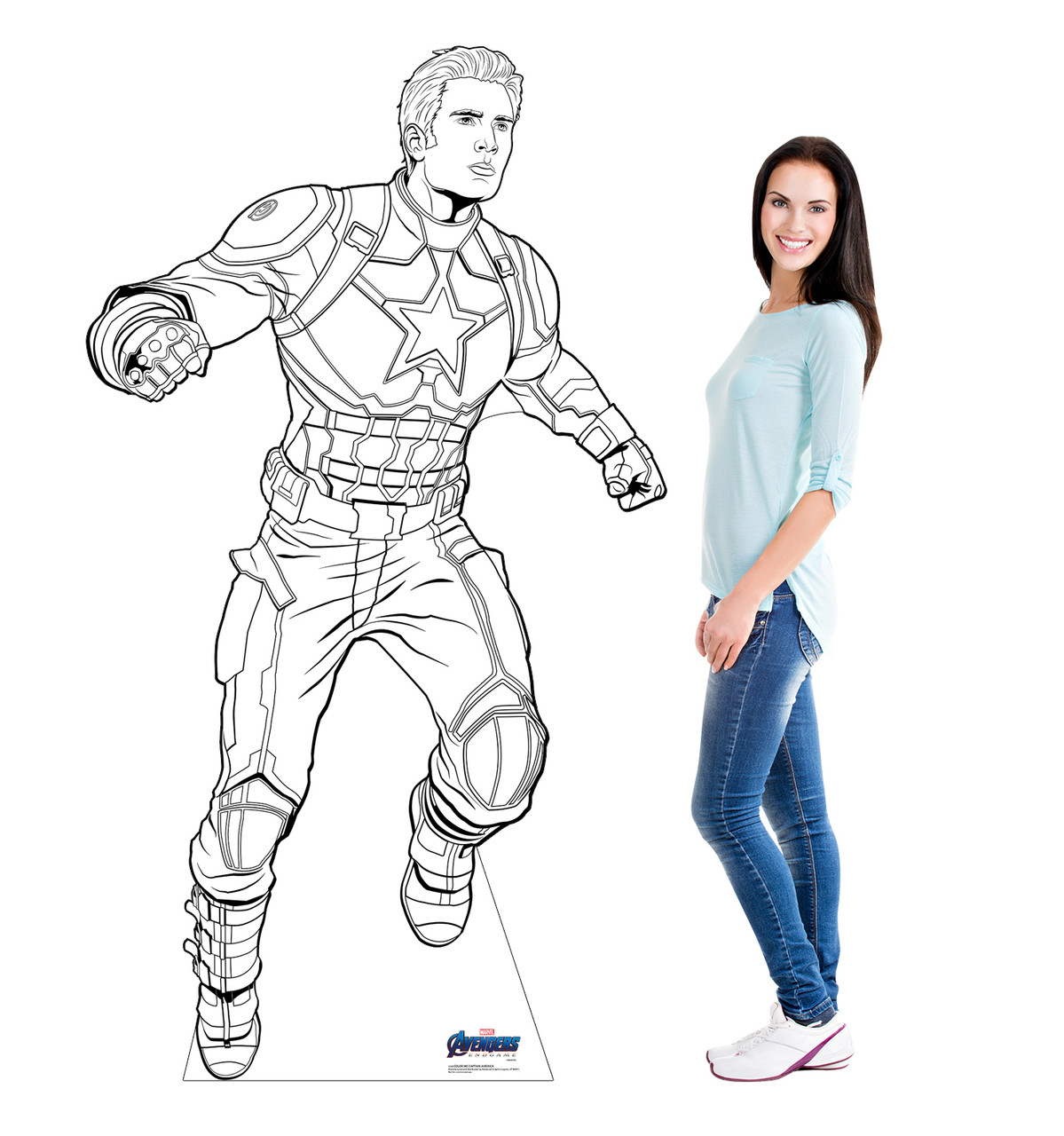 Life-size Color Me Captain America Standee with model.