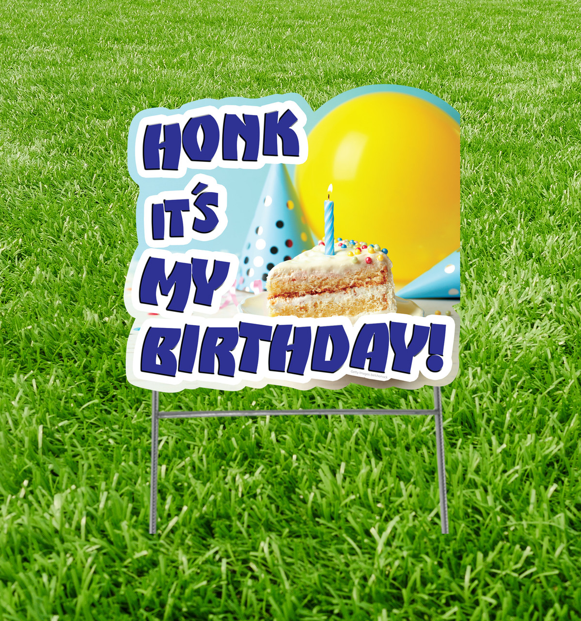"Honk It's My Birthday Cake Yard Sign 23"" x 25"" with background."