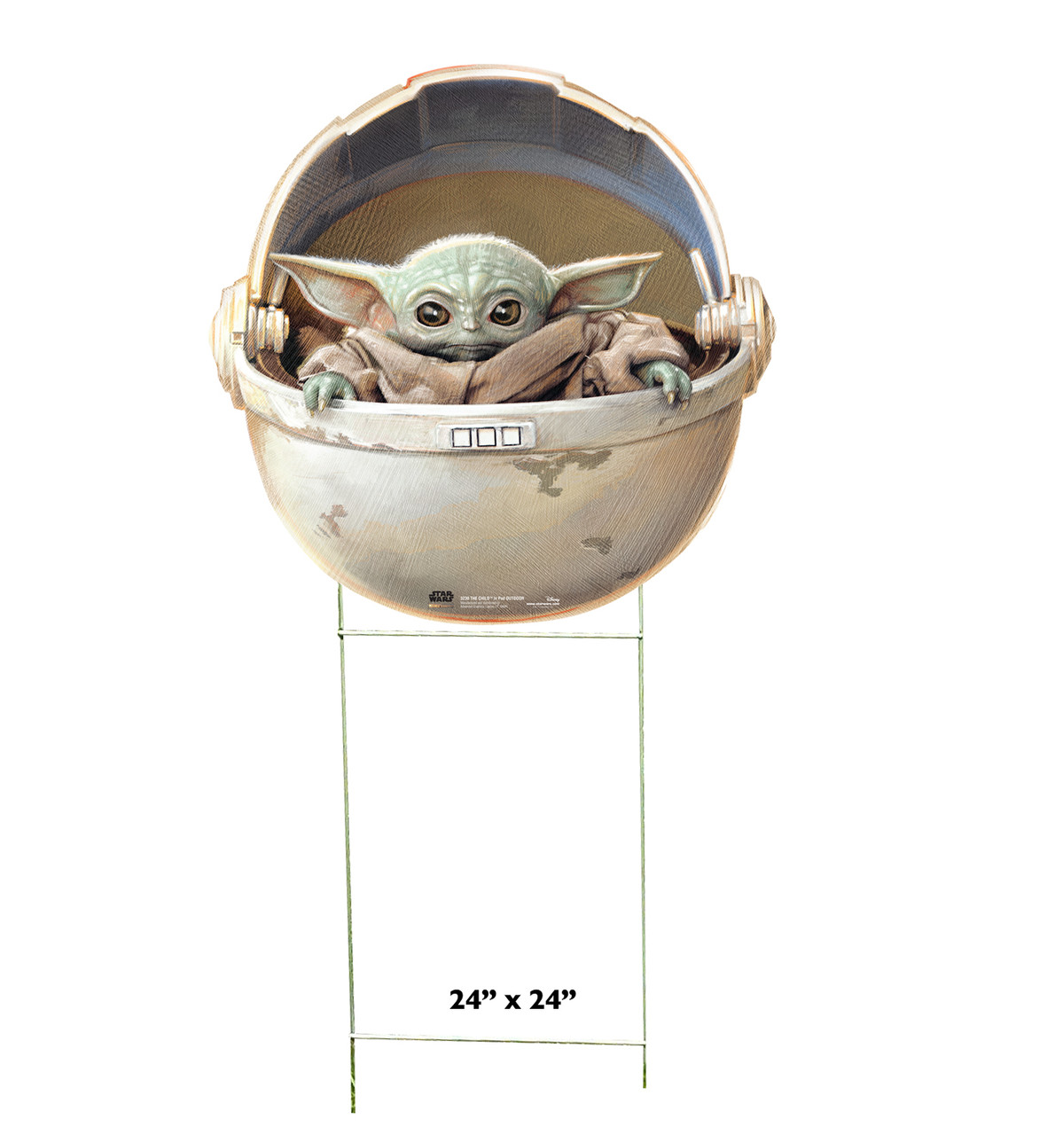 Outdoor coroplast standee of The Child in POD