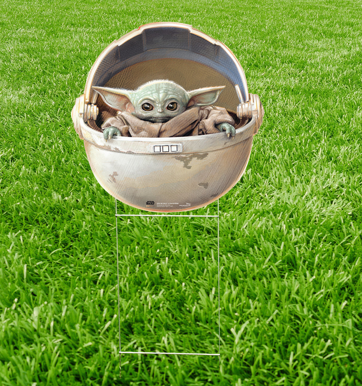Outdoor coroplast standee of The Child in POD outdoor