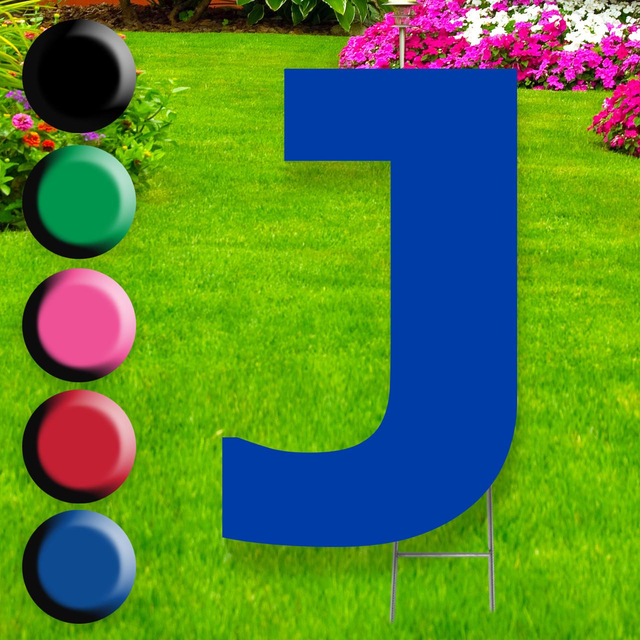 Letter J yard sign