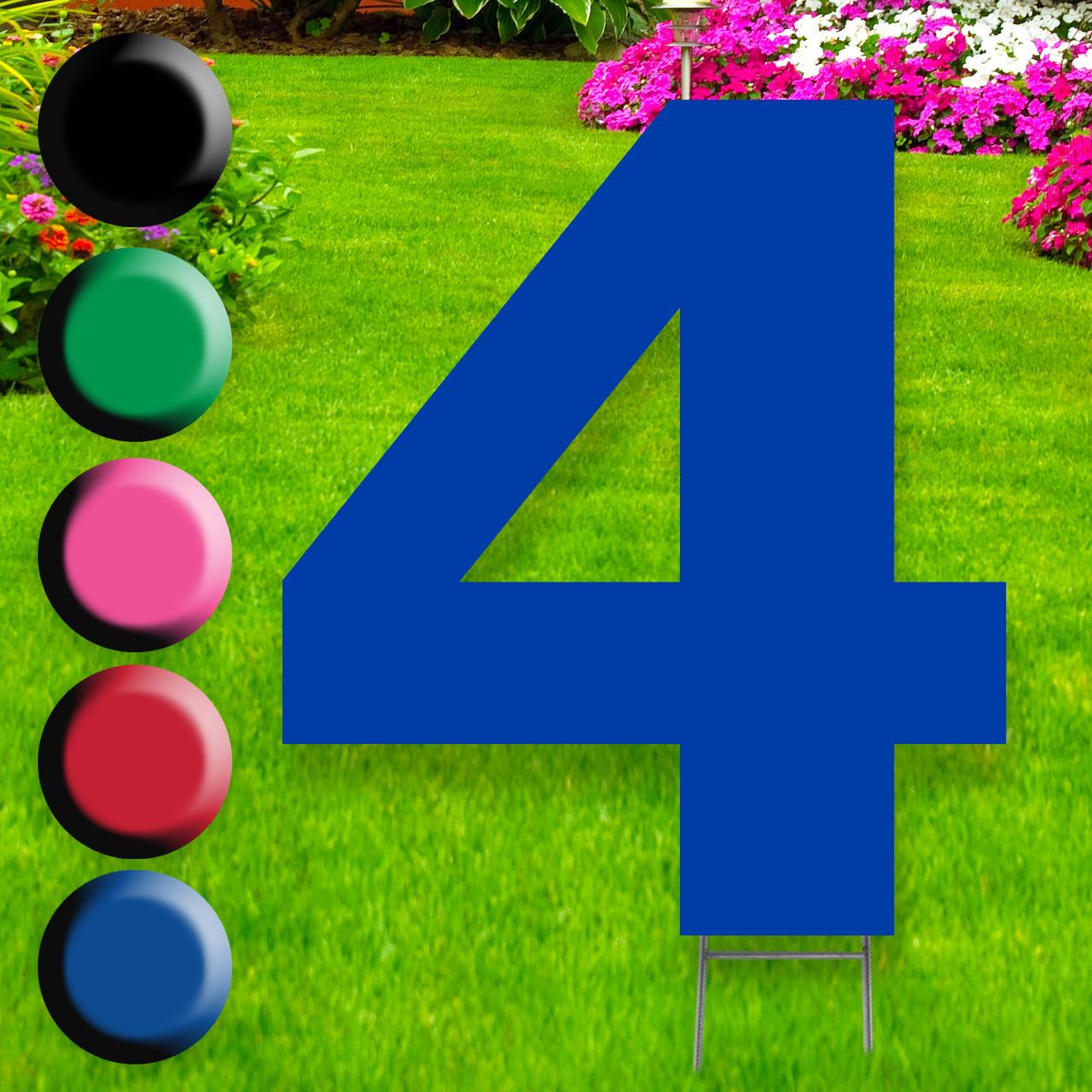 Number 4 yard sign