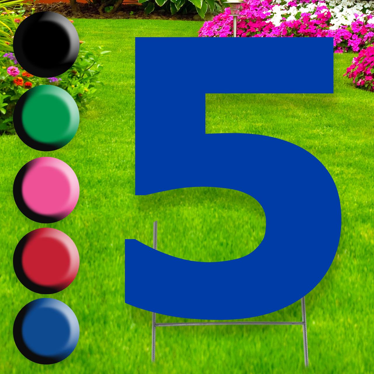 Number 5 yard sign