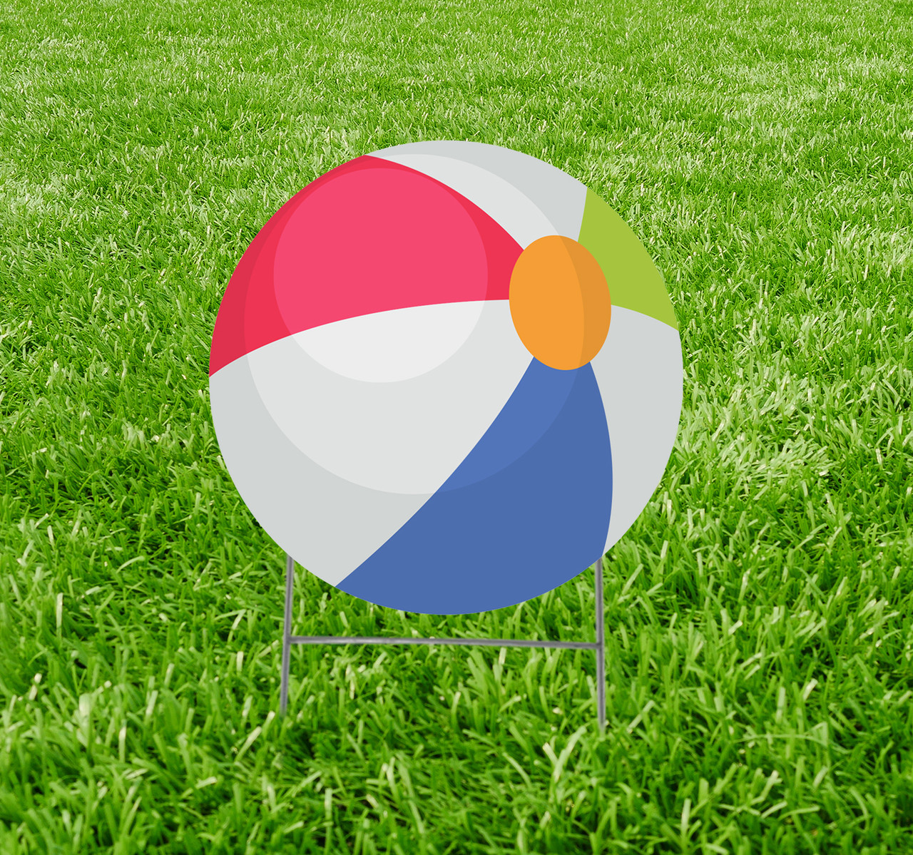 Coroplast outdoor yard sign icon of a beach ball.