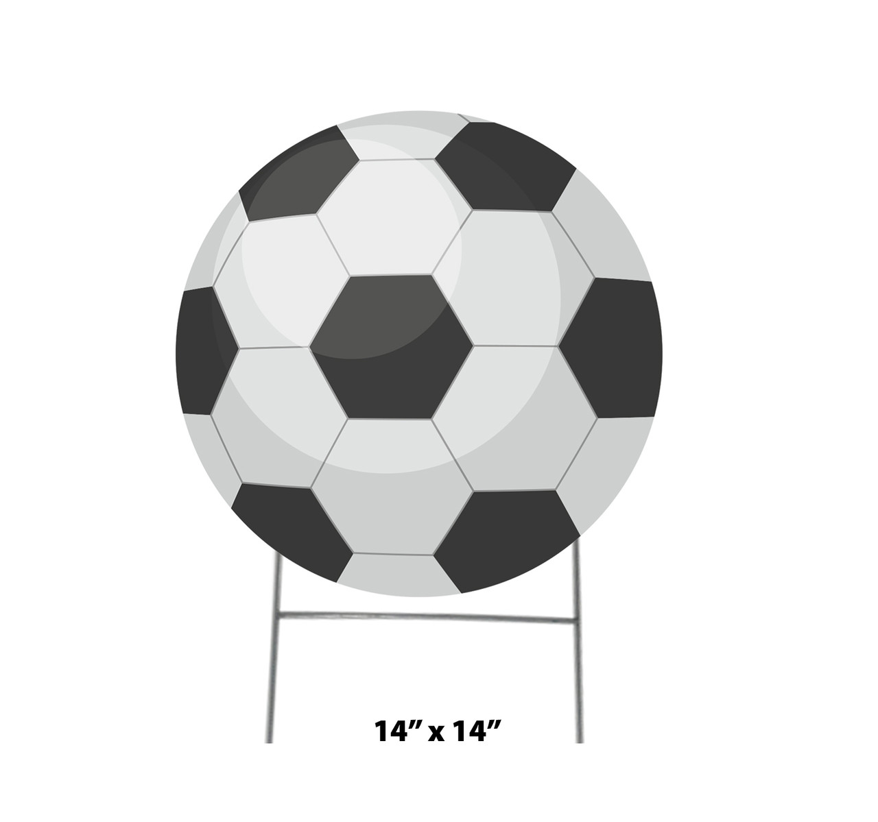 Coroplast outdoor yard sign icon of a soccer ball with dimensions.