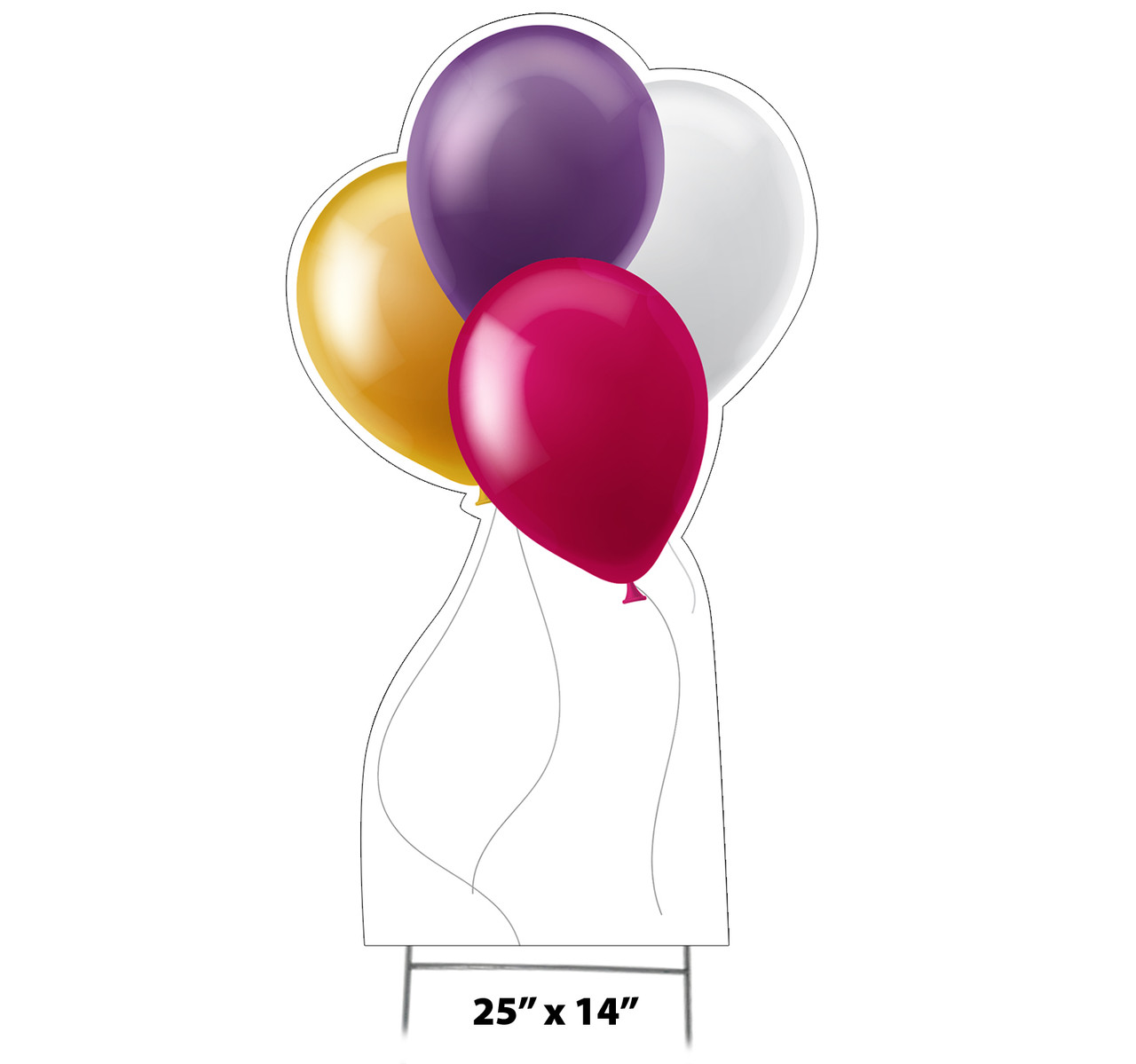 Coroplast outdoor yard sign icon of balloons with dimensions.
