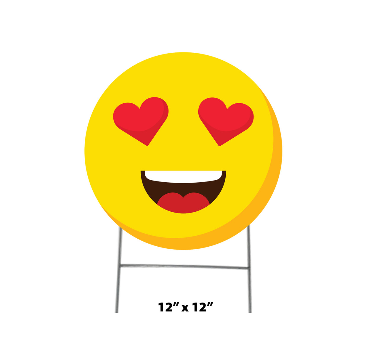 Coroplast outdoor yard sign icon of an emoji with heart eyes with dimensions.