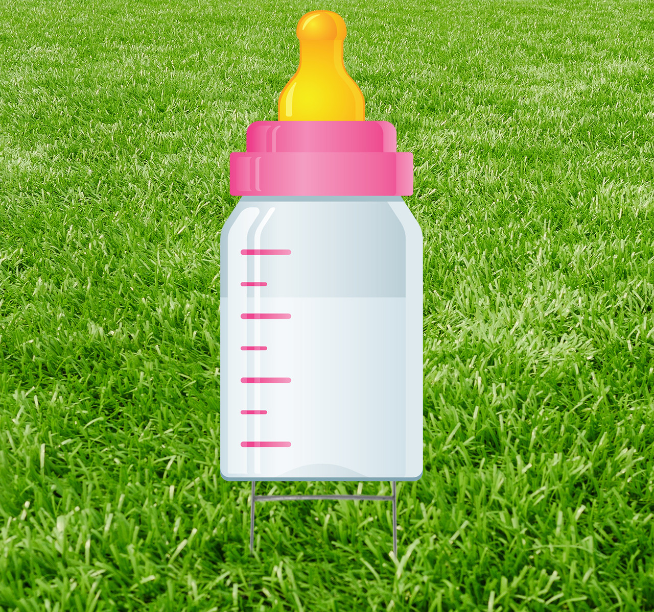 Coroplast outdoor yard sign icon of a pink baby bottle.