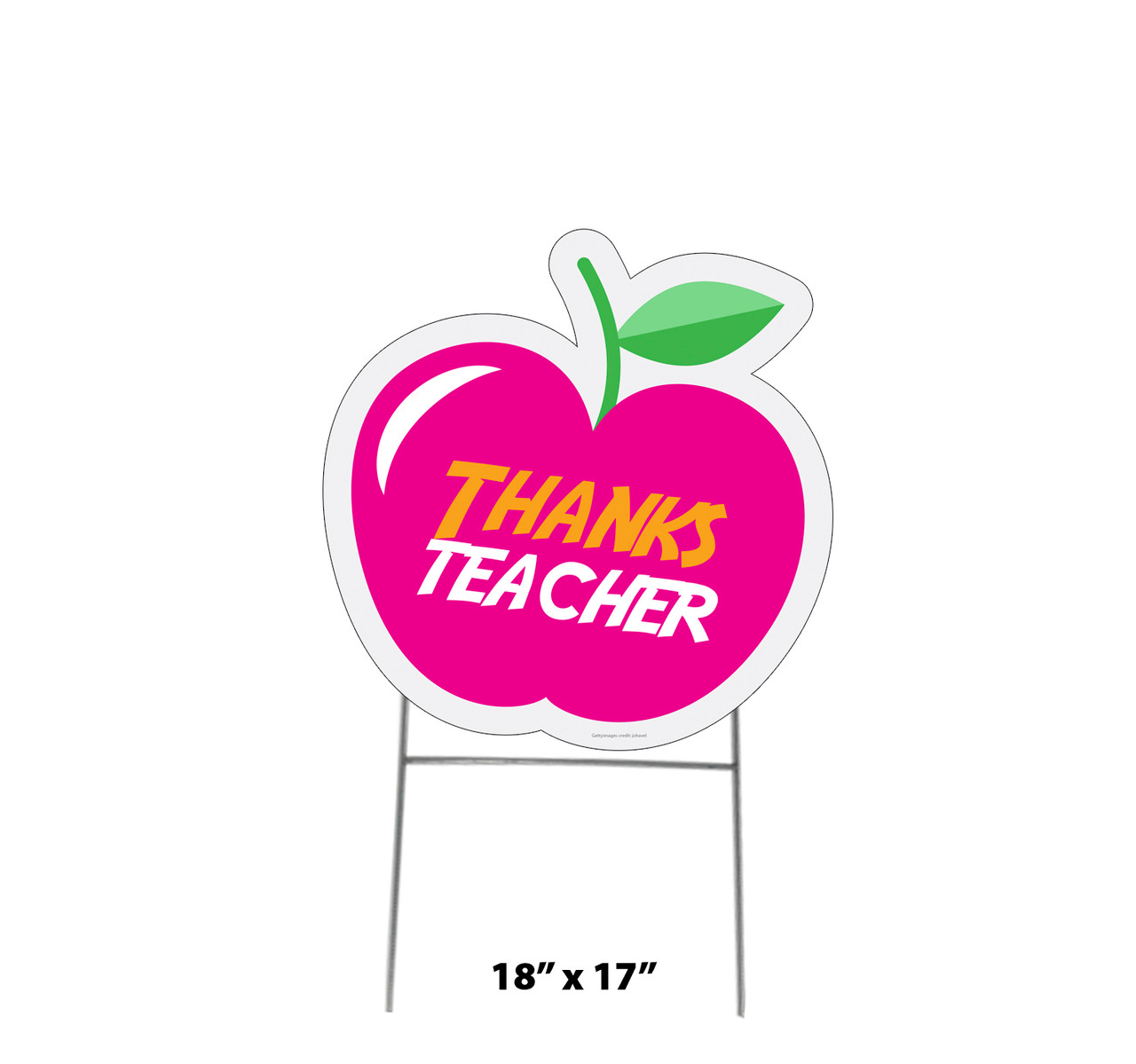 Coroplast outdoor thanks teacher apple yard sign with dimensions.