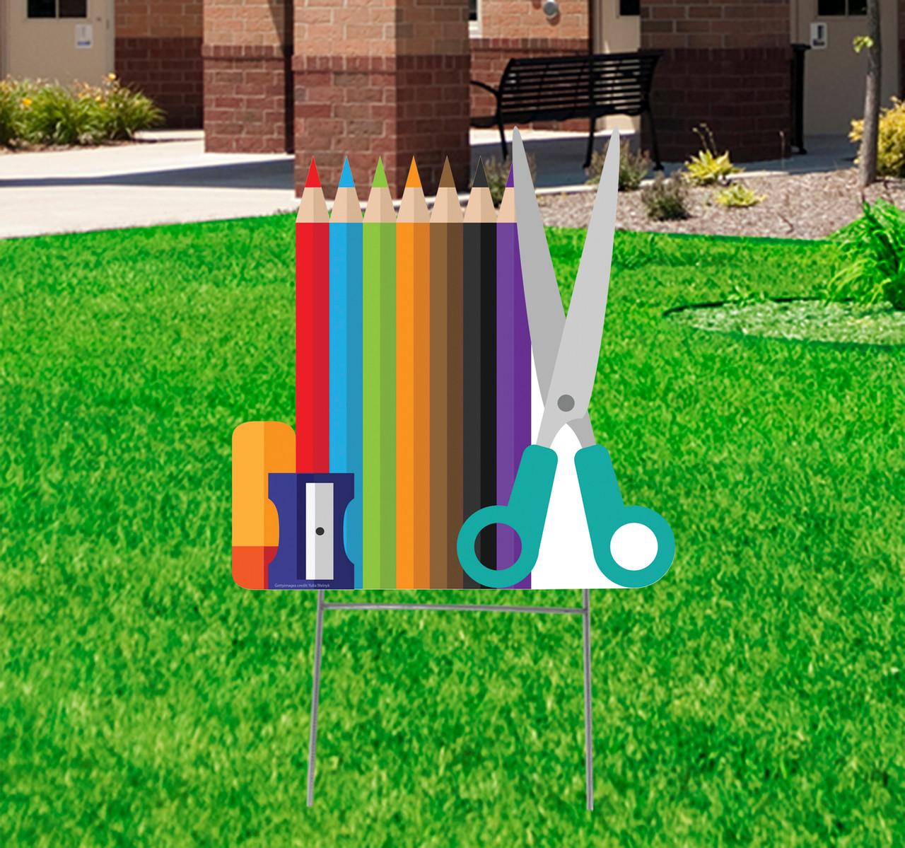Coroplast outdoor School Supplies Yard Sign.