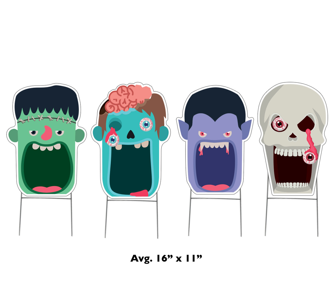 Coroplast outdoor Halloween Scary Faces 4 Pack Yard Signs with dimensions.