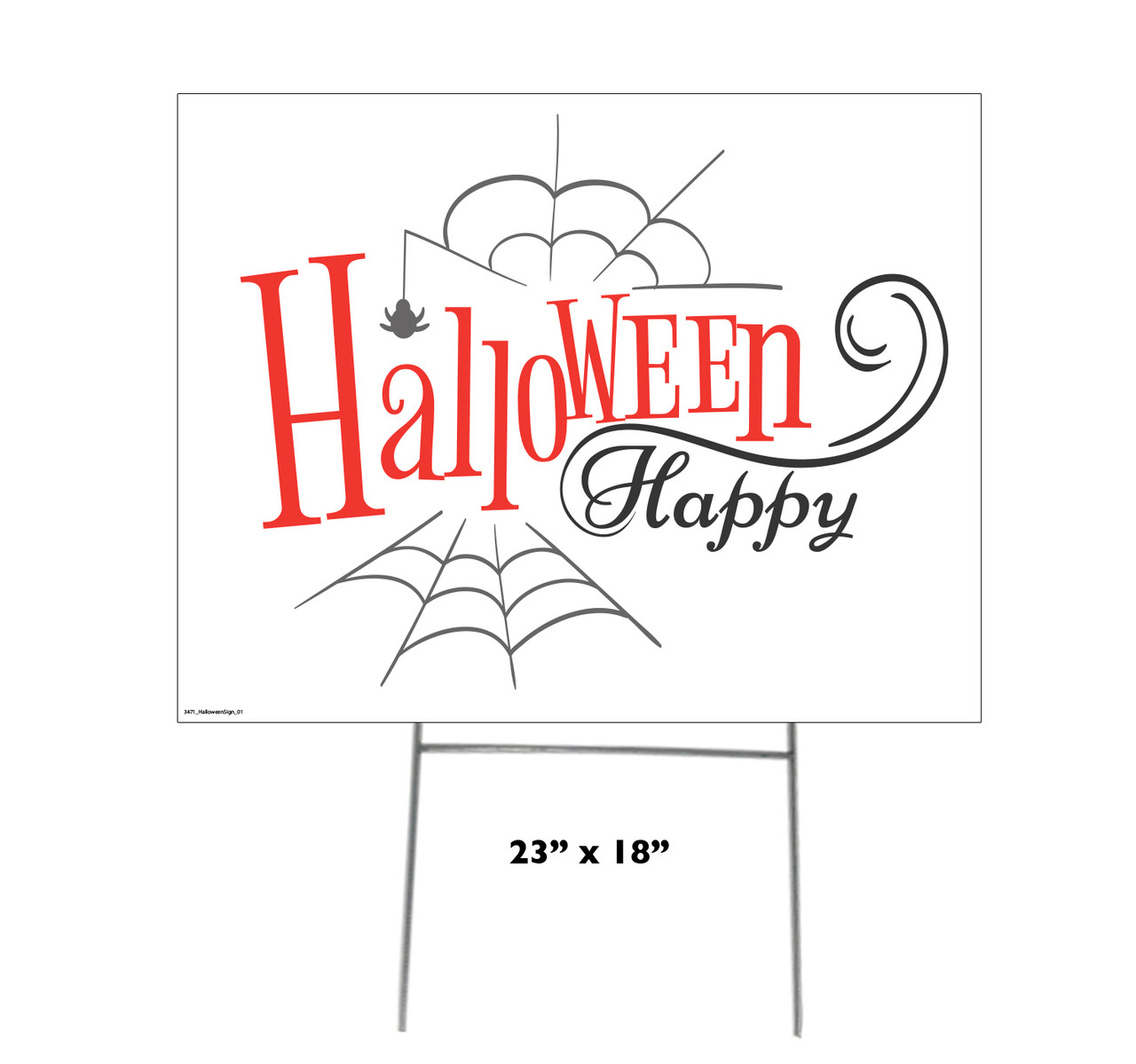 Coroplast outdoor Halloween Sign 01 with dimensions.