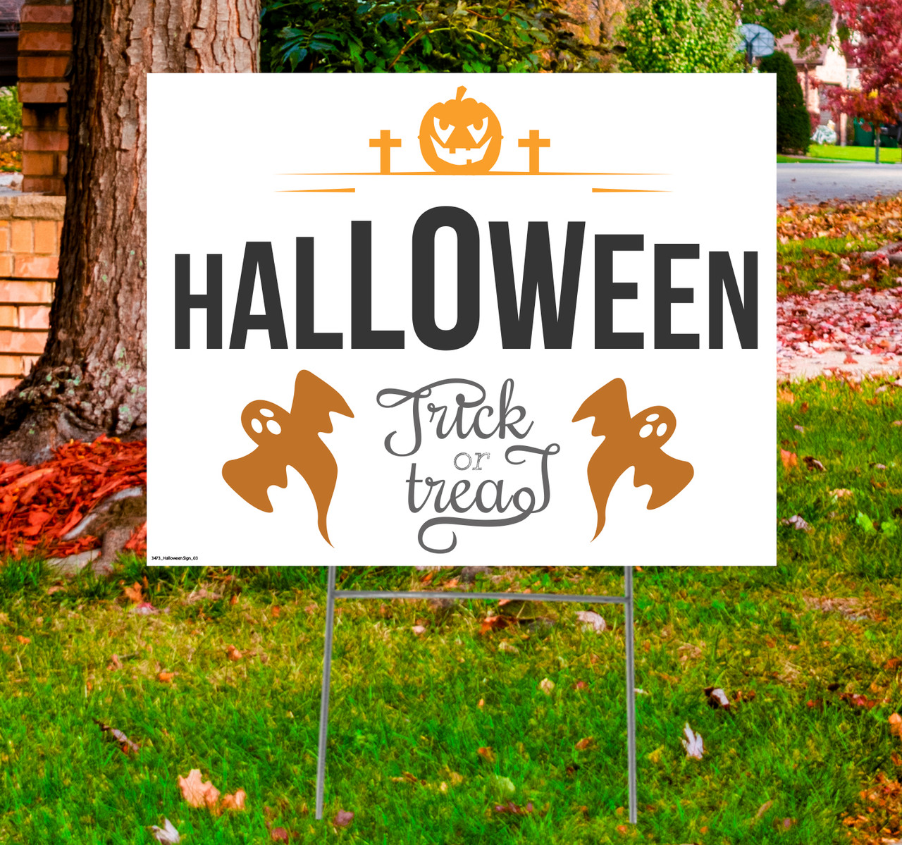 Coroplast outdoor Halloween Sign 03 with dimensions.