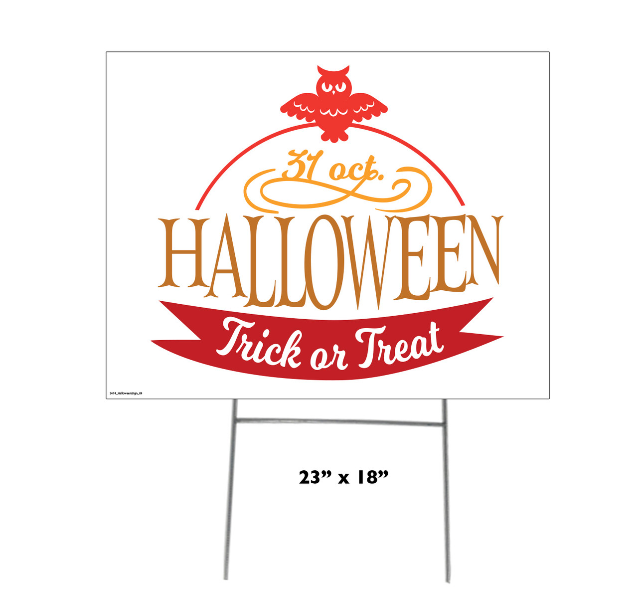 Coroplast outdoor Halloween Sign 04 with dimensions.