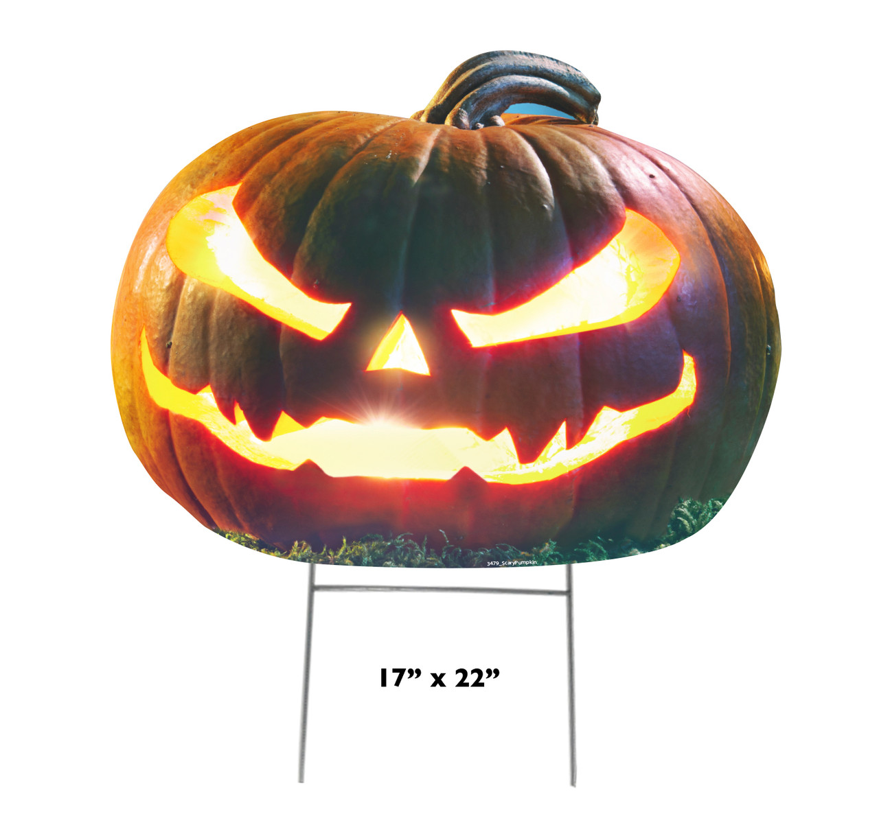 Coroplast outdoor Scary Pumpkin Yard Sign with dimensions.