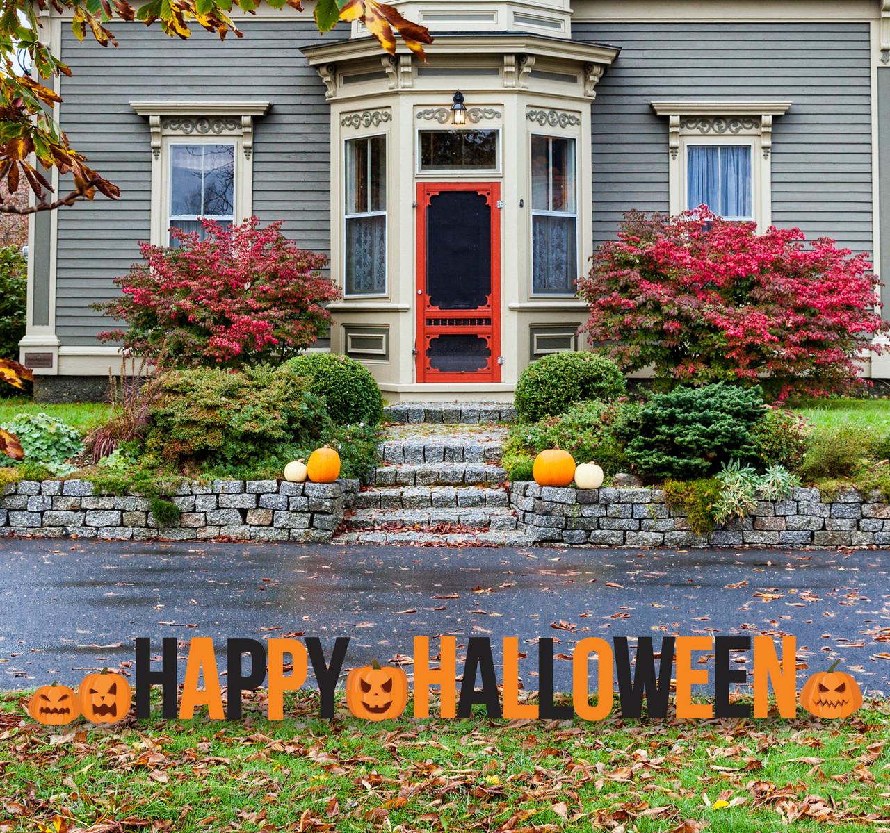 Coroplast outdoor Happy Halloween and Pumpkins Yard Letters.