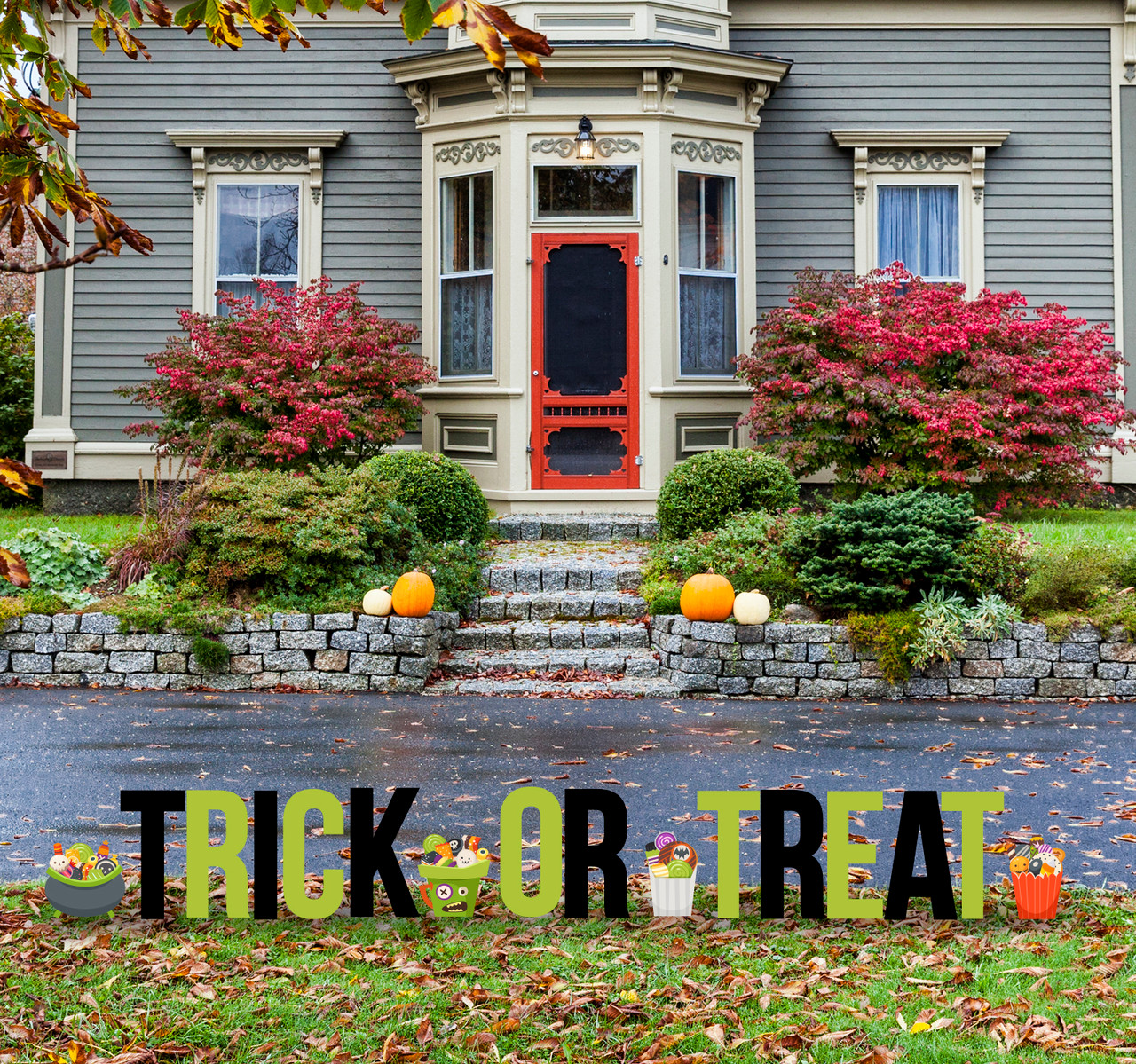 Coroplast outdoor Trick or Treat Yard Letters with Candy Buckets.