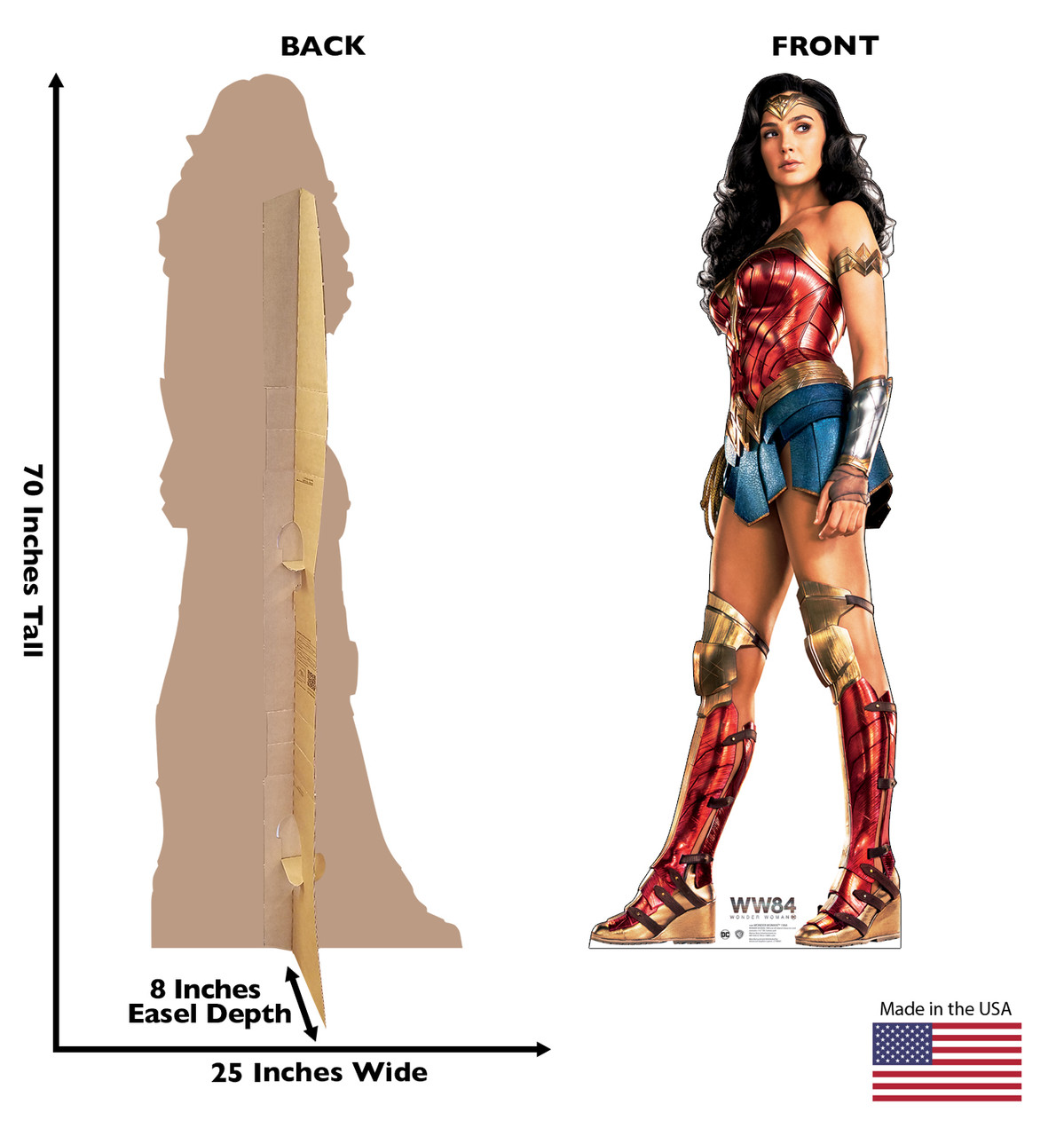 Wonder Woman 1984 cardboard standee with front and back dimensions.